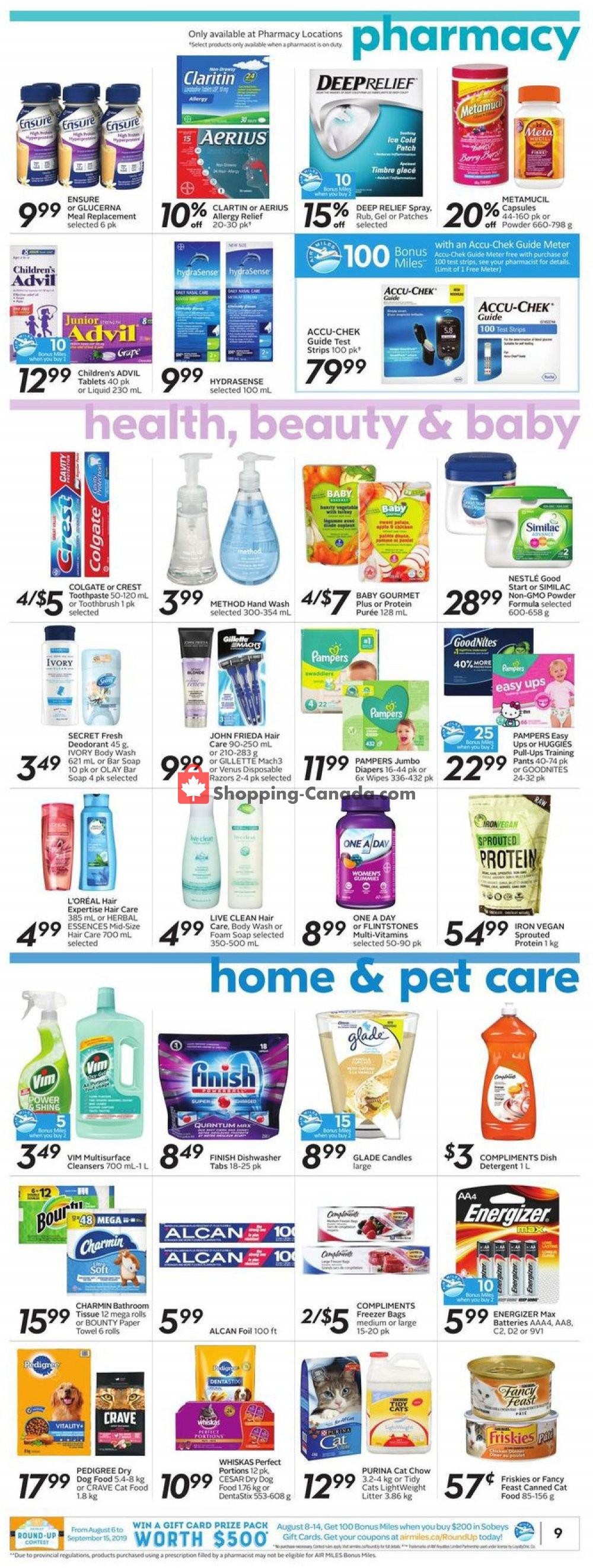 Flyer Sobeys Canada - from Thursday August 8, 2019 to Wednesday August 14, 2019