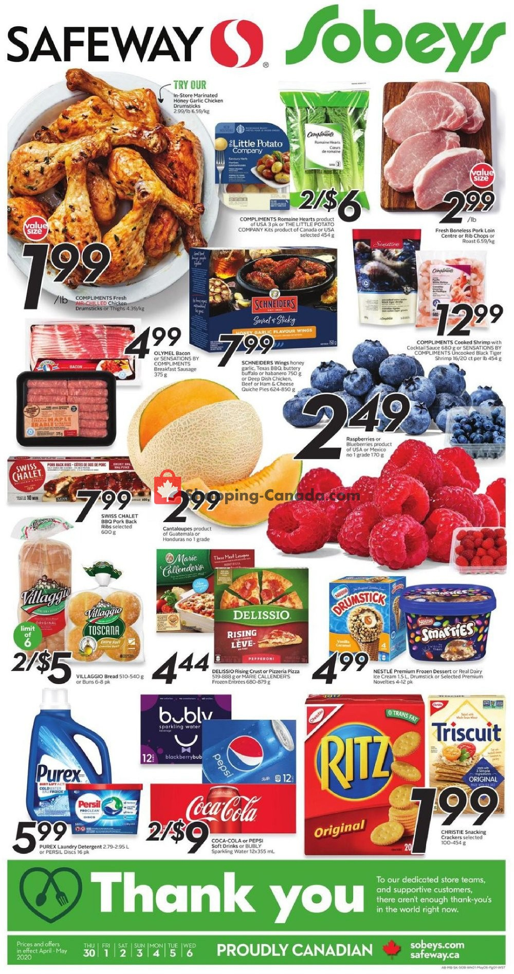 Flyer Sobeys Canada - from Thursday April 30, 2020 to Wednesday May 6, 2020