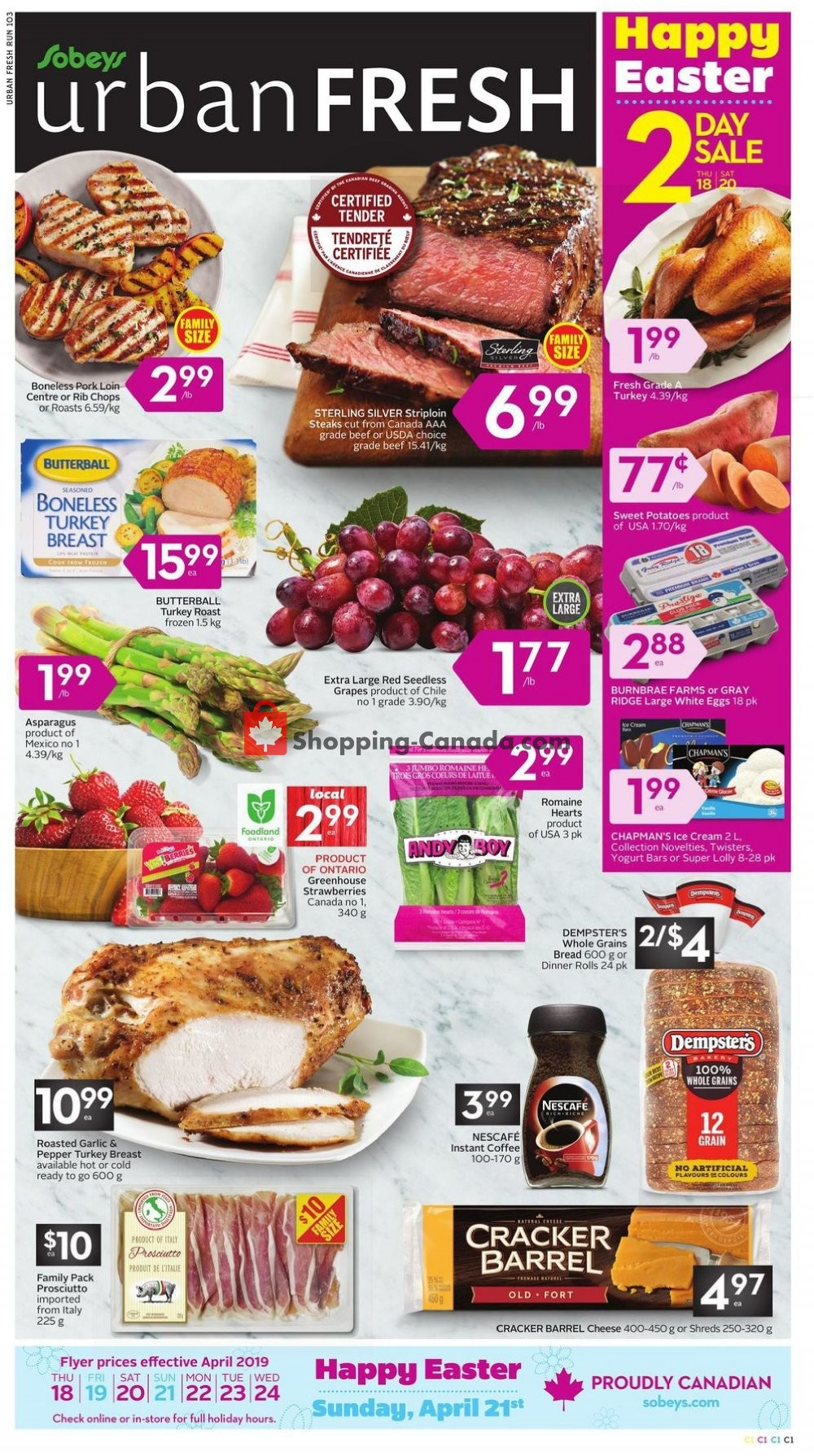 Flyer Sobeys Canada - from Thursday April 18, 2019 to Wednesday April 24, 2019