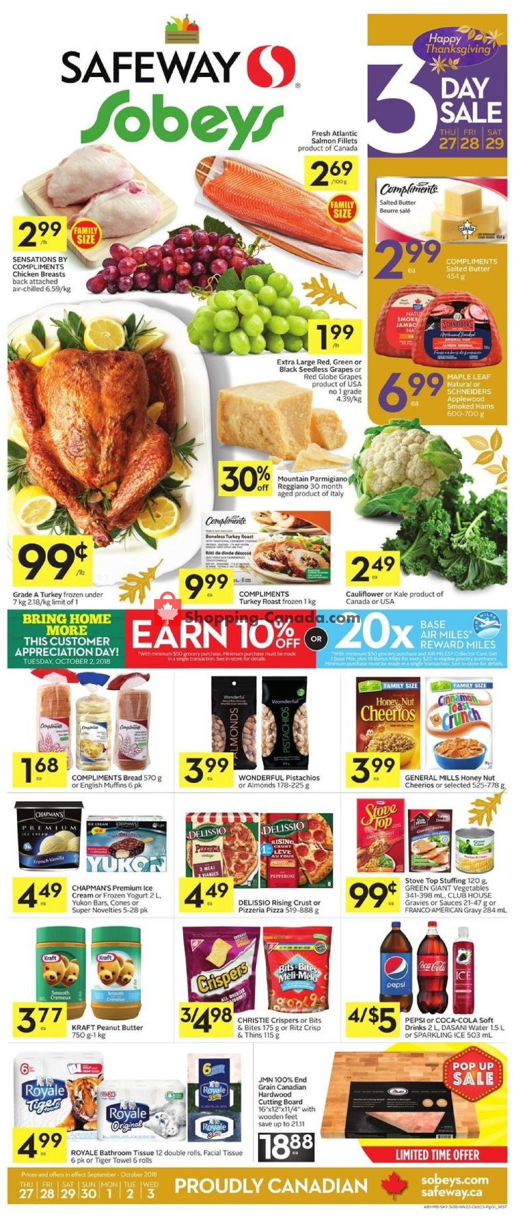 Flyer Sobeys Canada - from Thursday September 27, 2018 to Wednesday October 3, 2018