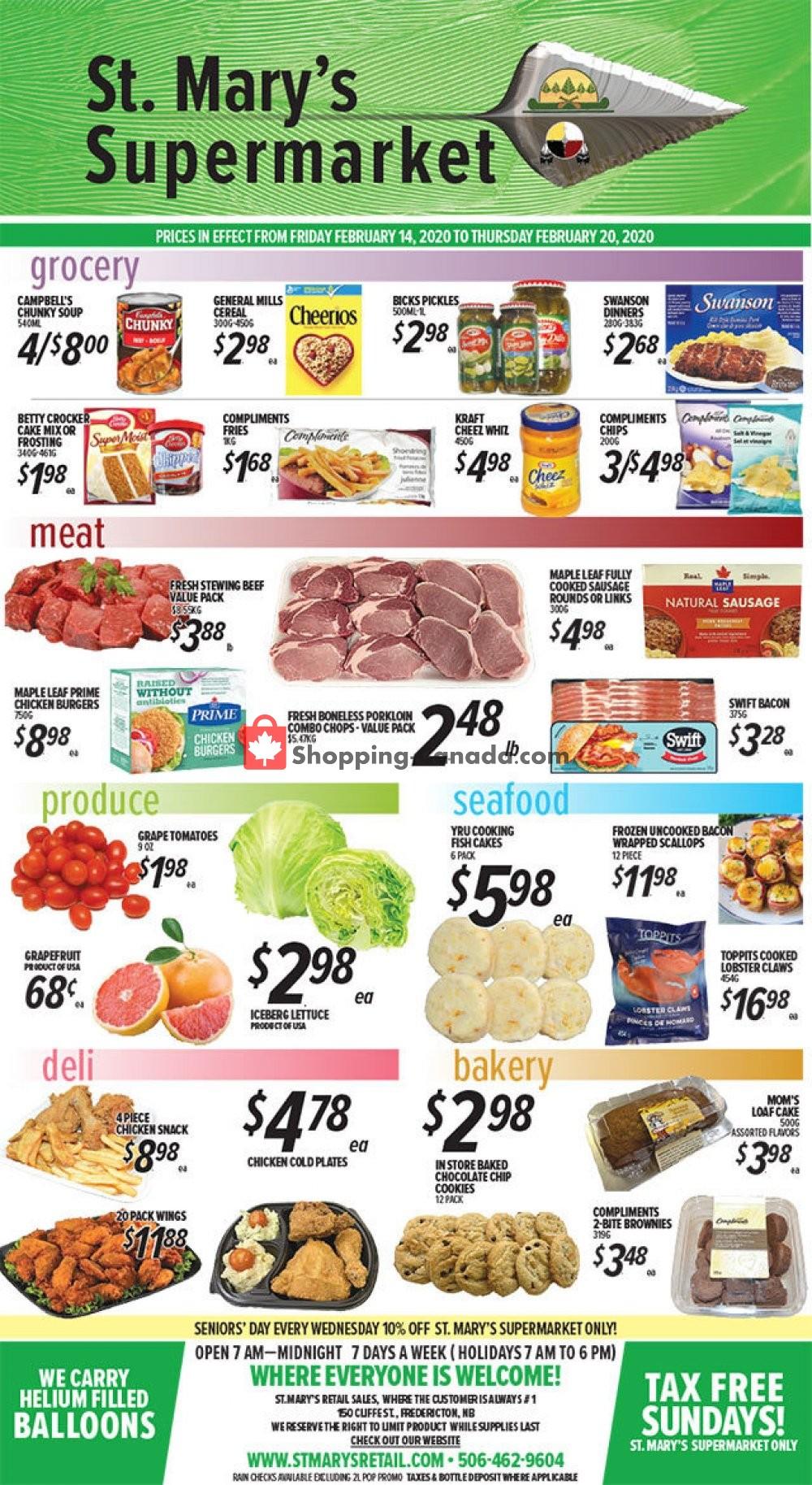Flyer St. Mary's Supermarket Canada - from Friday February 14, 2020 to Thursday February 20, 2020