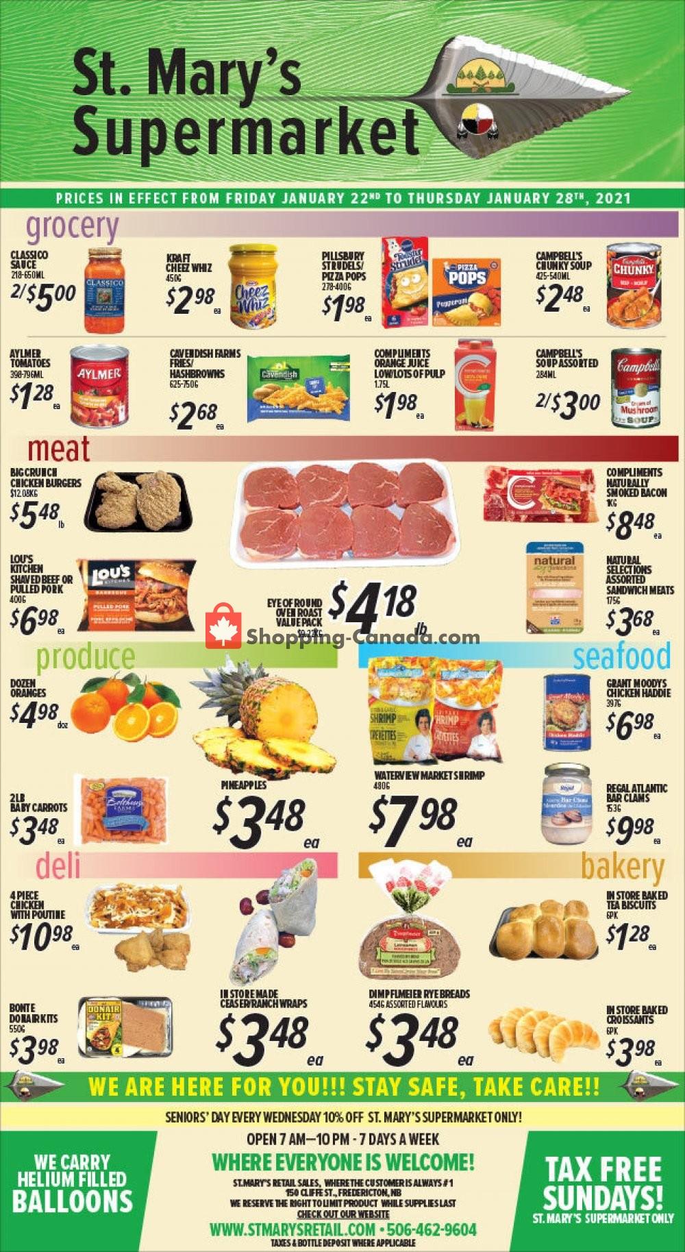 Flyer St. Mary's Supermarket Canada - from Friday January 22, 2021 to Thursday January 28, 2021