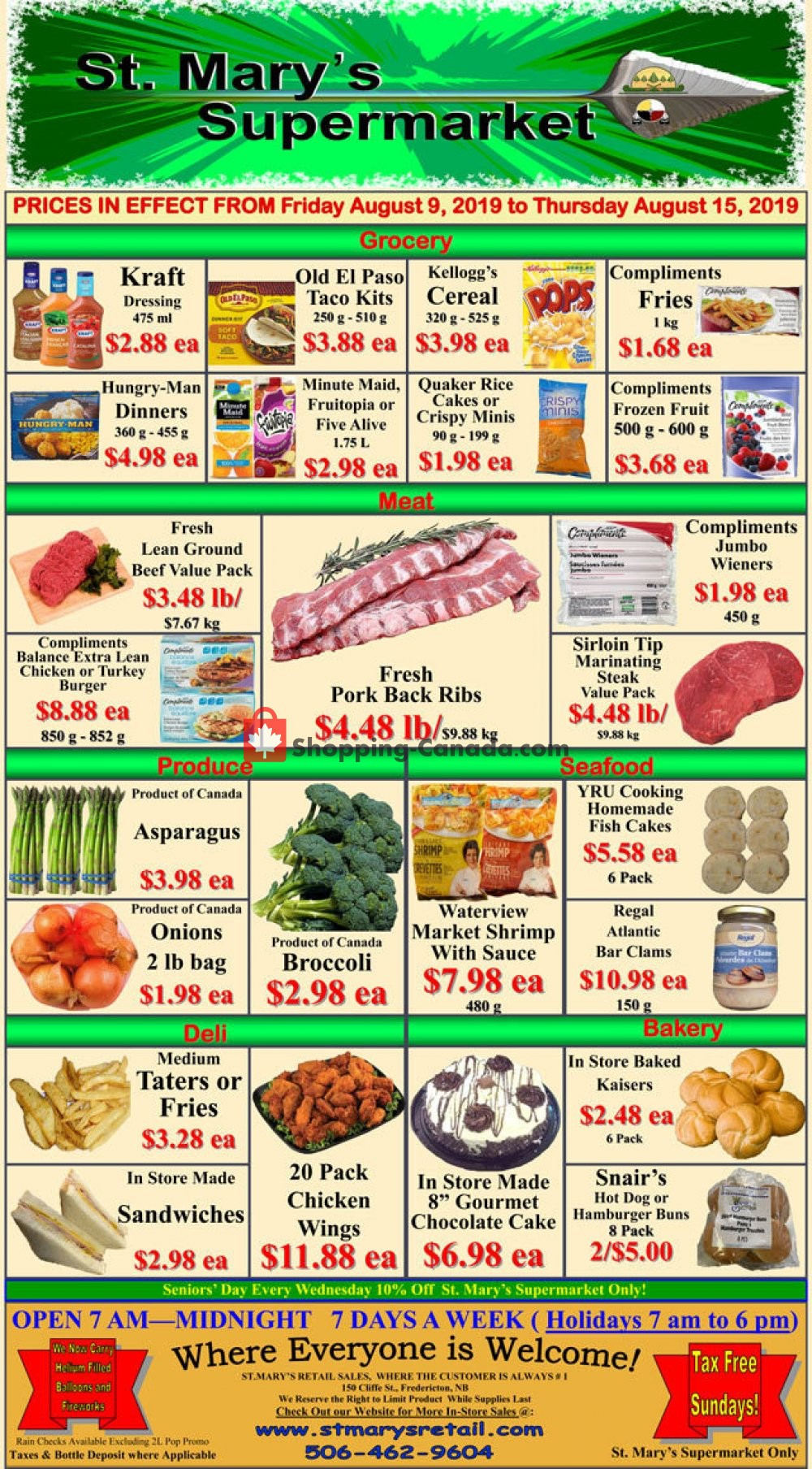 Flyer St. Mary's Supermarket Canada - from Friday August 9, 2019 to Thursday August 15, 2019