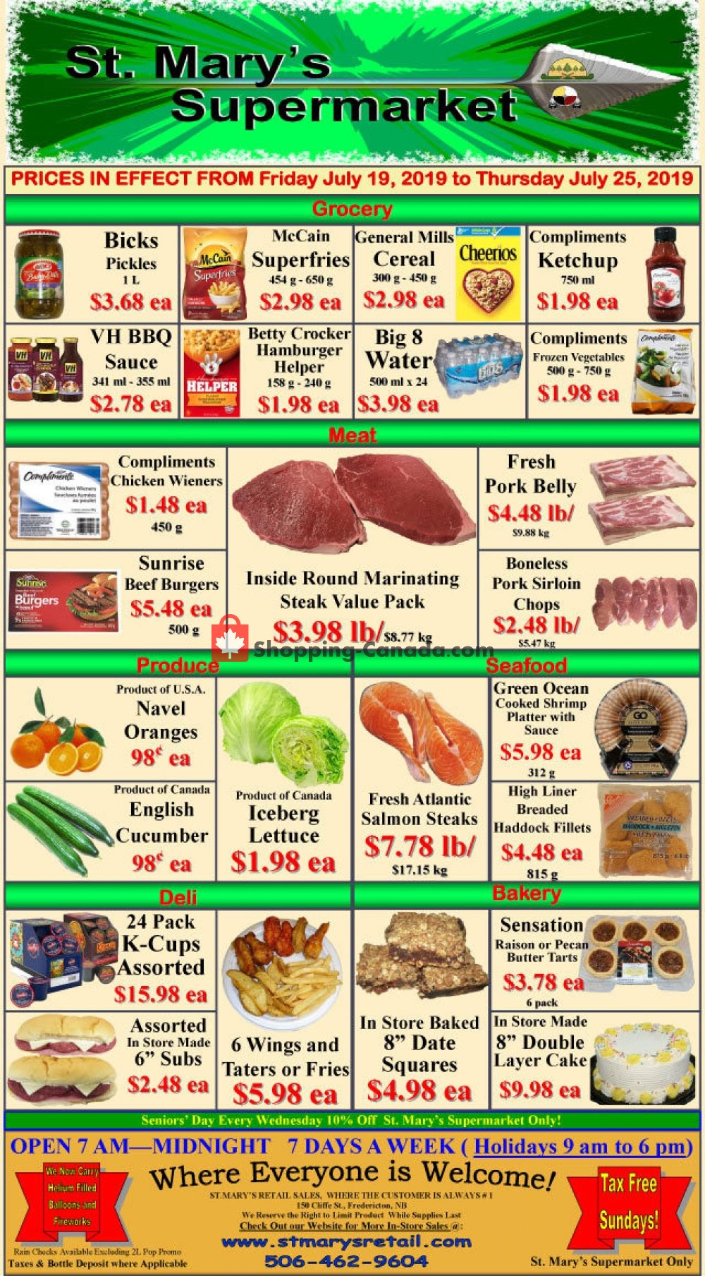 Flyer St. Mary's Supermarket Canada - from Friday July 19, 2019 to Thursday July 25, 2019