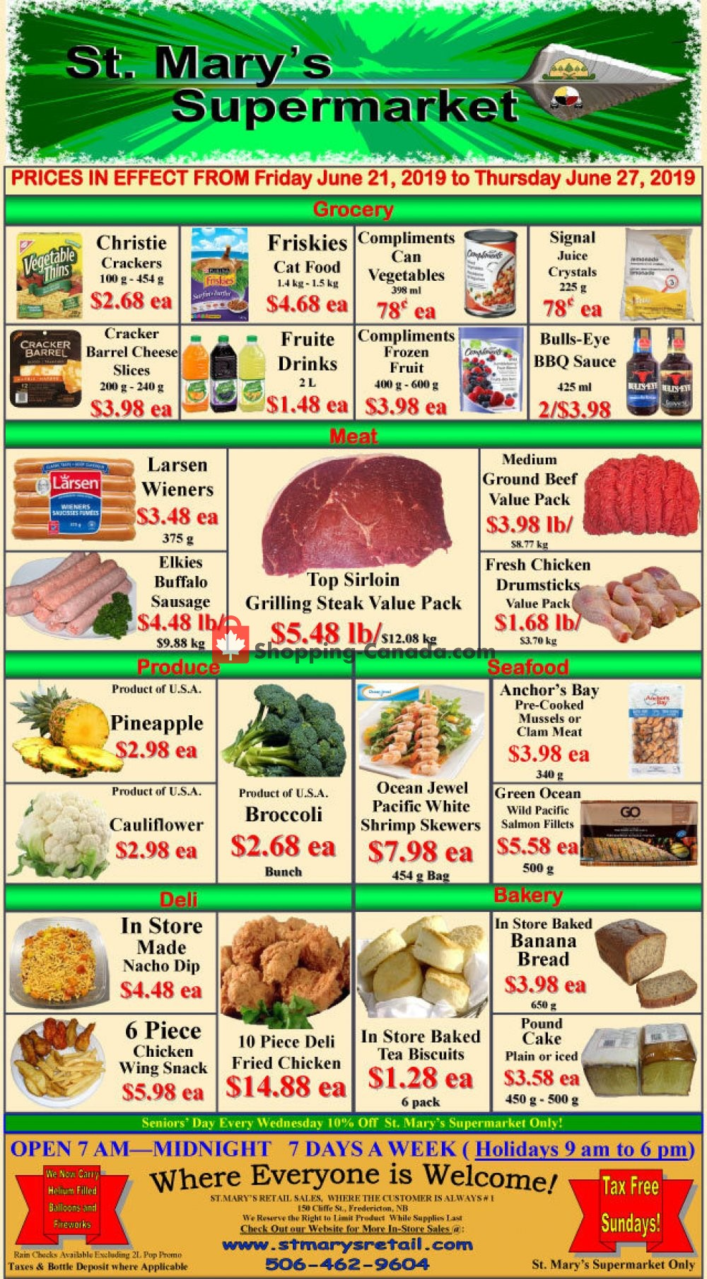 Flyer St. Mary's Supermarket Canada - from Friday June 21, 2019 to Thursday June 27, 2019