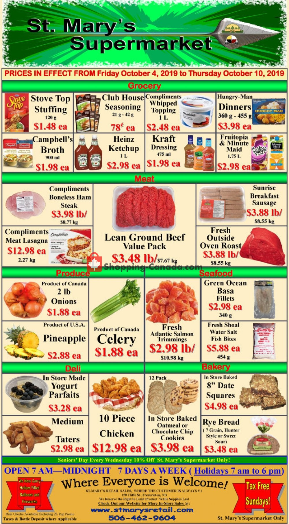 Flyer St. Mary's Supermarket Canada - from Friday October 4, 2019 to Thursday October 10, 2019
