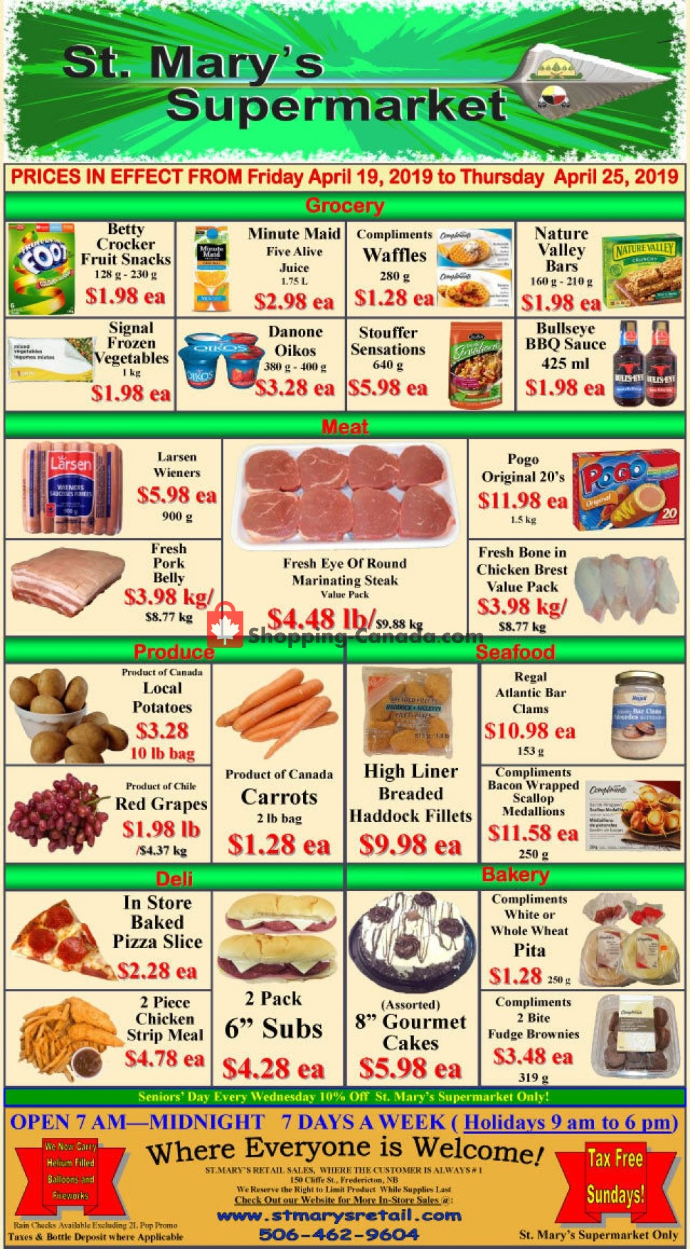 Flyer St. Mary's Supermarket Canada - from Friday April 19, 2019 to Thursday April 25, 2019
