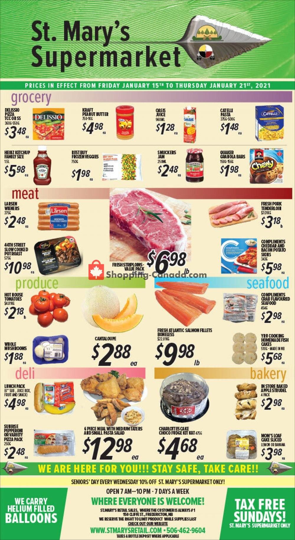 Flyer St. Mary's Supermarket Canada - from Friday January 15, 2021 to Thursday January 21, 2021