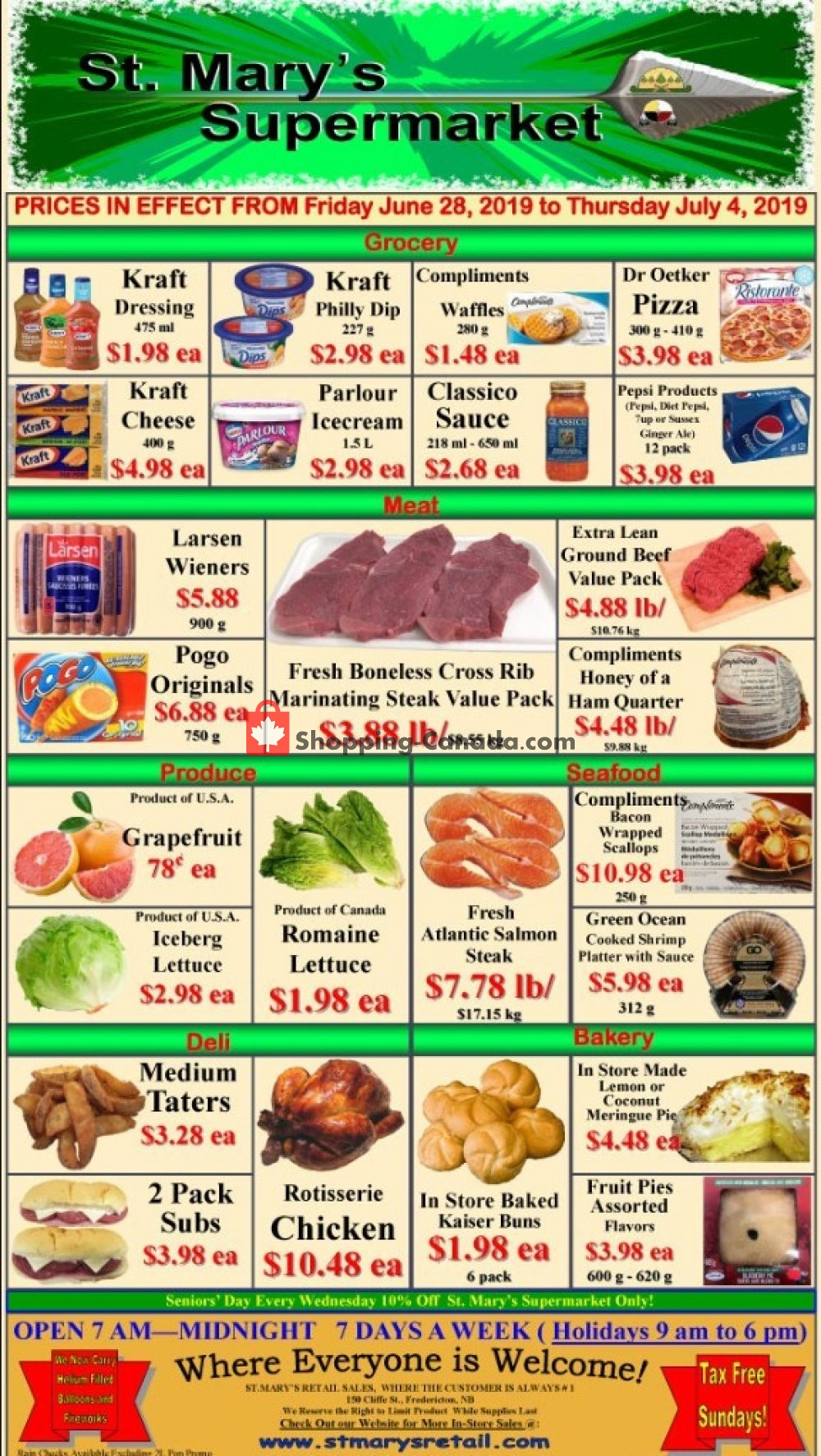 Flyer St. Mary's Supermarket Canada - from Friday June 28, 2019 to Thursday July 4, 2019