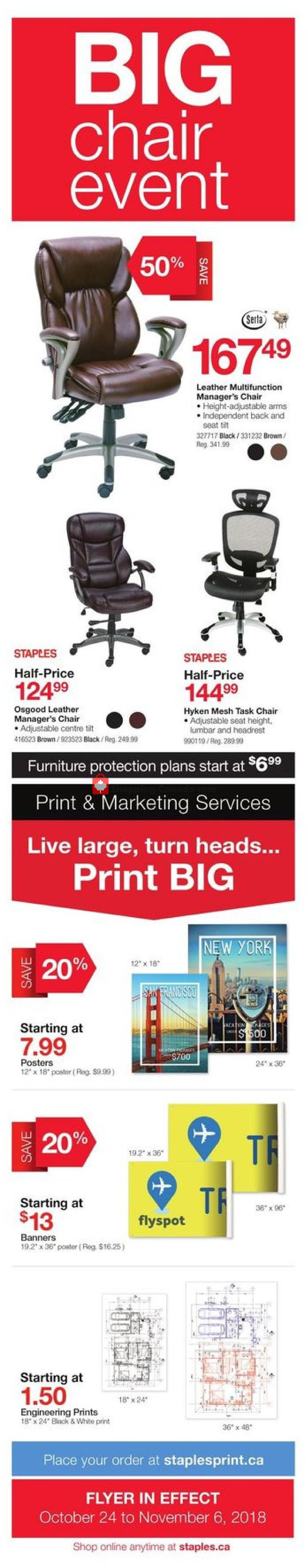 Flyer Staples Canada - from Wednesday October 24, 2018 to Tuesday November 6, 2018