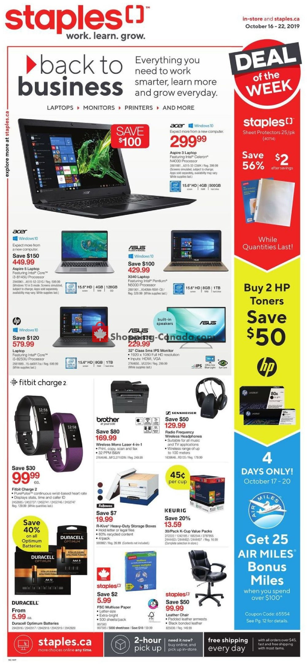 Flyer Staples Canada - from Wednesday October 16, 2019 to Tuesday October 22, 2019