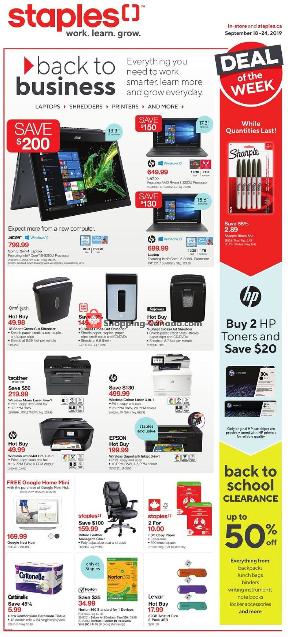 Flyer Staples Canada - from Wednesday September 18, 2019 to Tuesday September 24, 2019