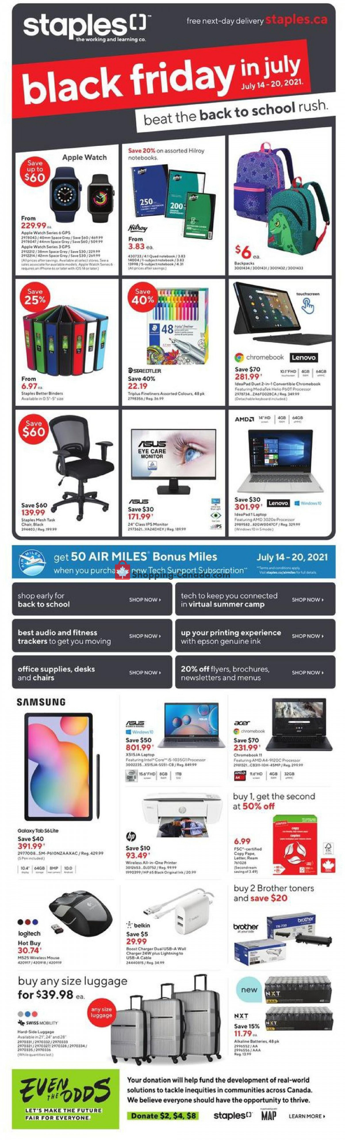 Flyer Staples Canada - from Wednesday July 14, 2021 to Tuesday July 20, 2021