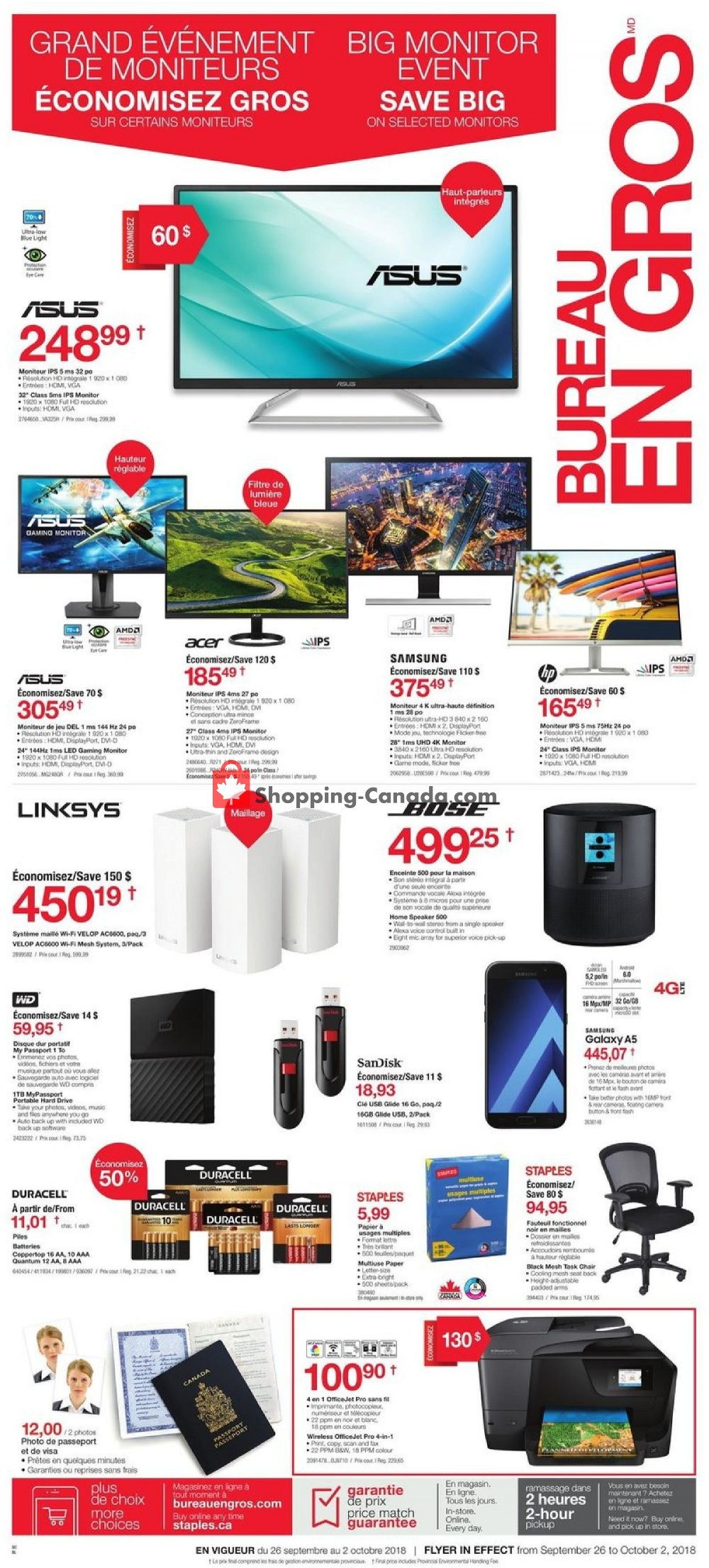 Flyer Staples Canada - from Wednesday September 26, 2018 to Tuesday October 2, 2018