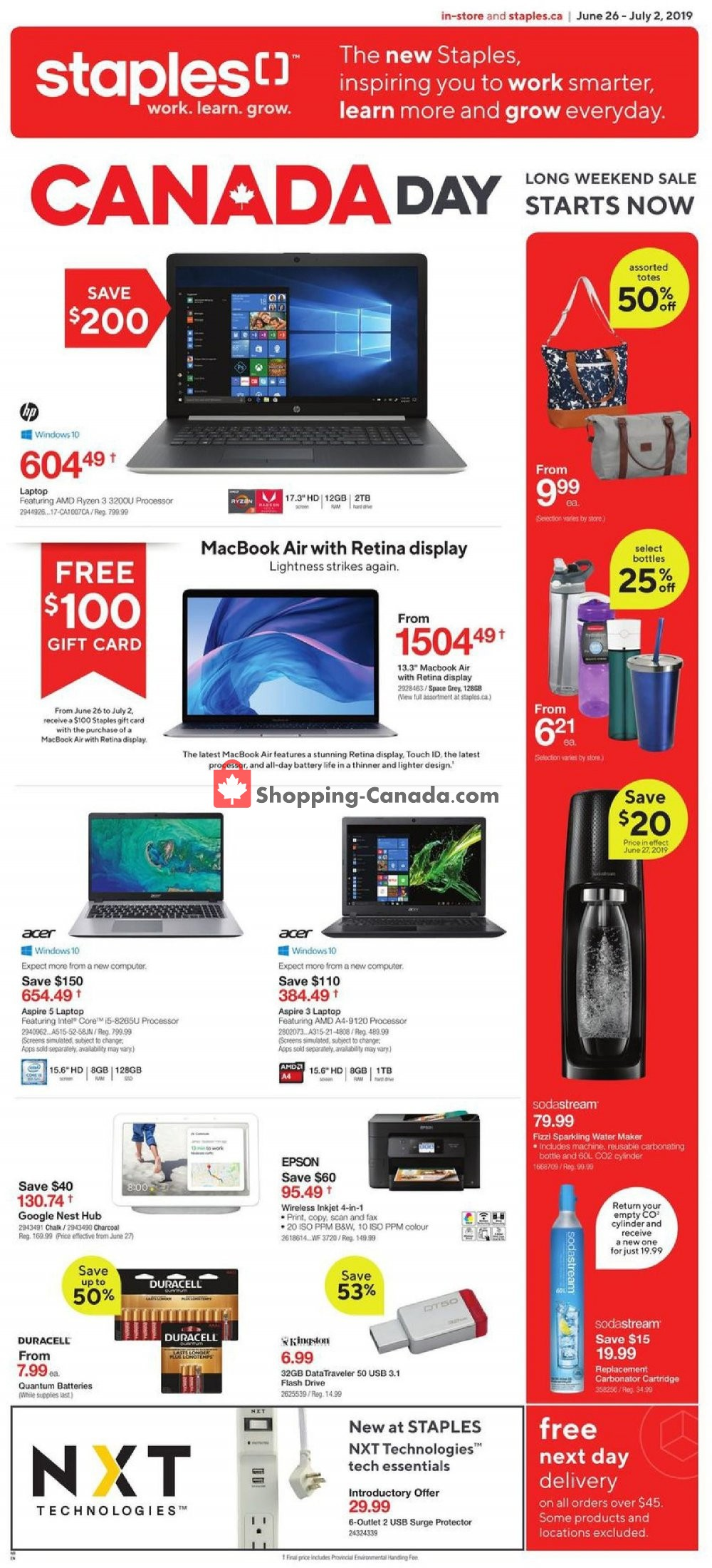 Flyer Staples Canada - from Wednesday June 26, 2019 to Tuesday July 2, 2019