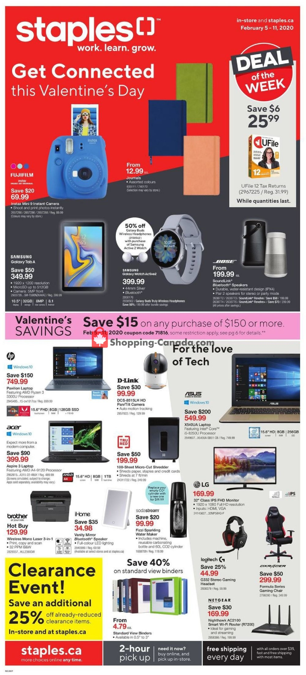 Flyer Staples Canada - from Wednesday February 5, 2020 to Tuesday February 11, 2020