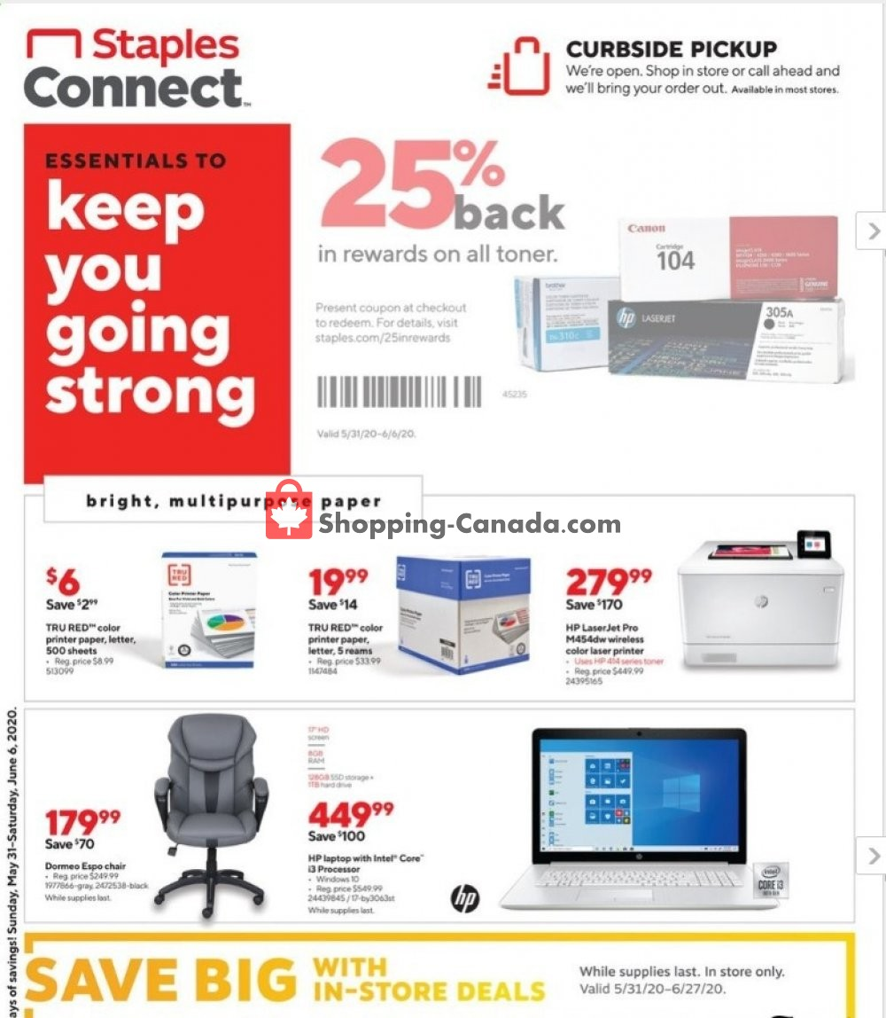 Flyer Staples Canada - from Sunday May 31, 2020 to Saturday June 6, 2020