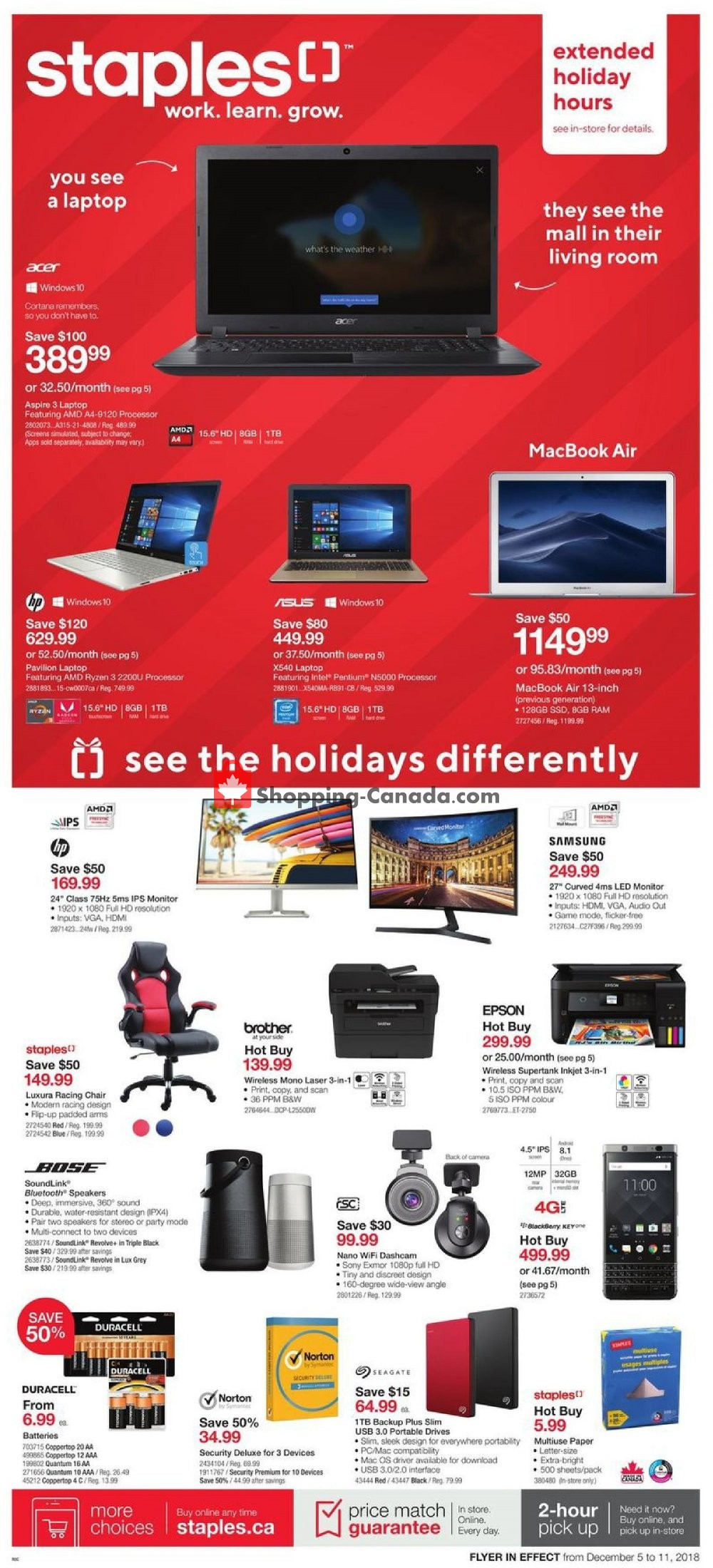Flyer and weekly ads: Staples Canada - (Extended Holiday