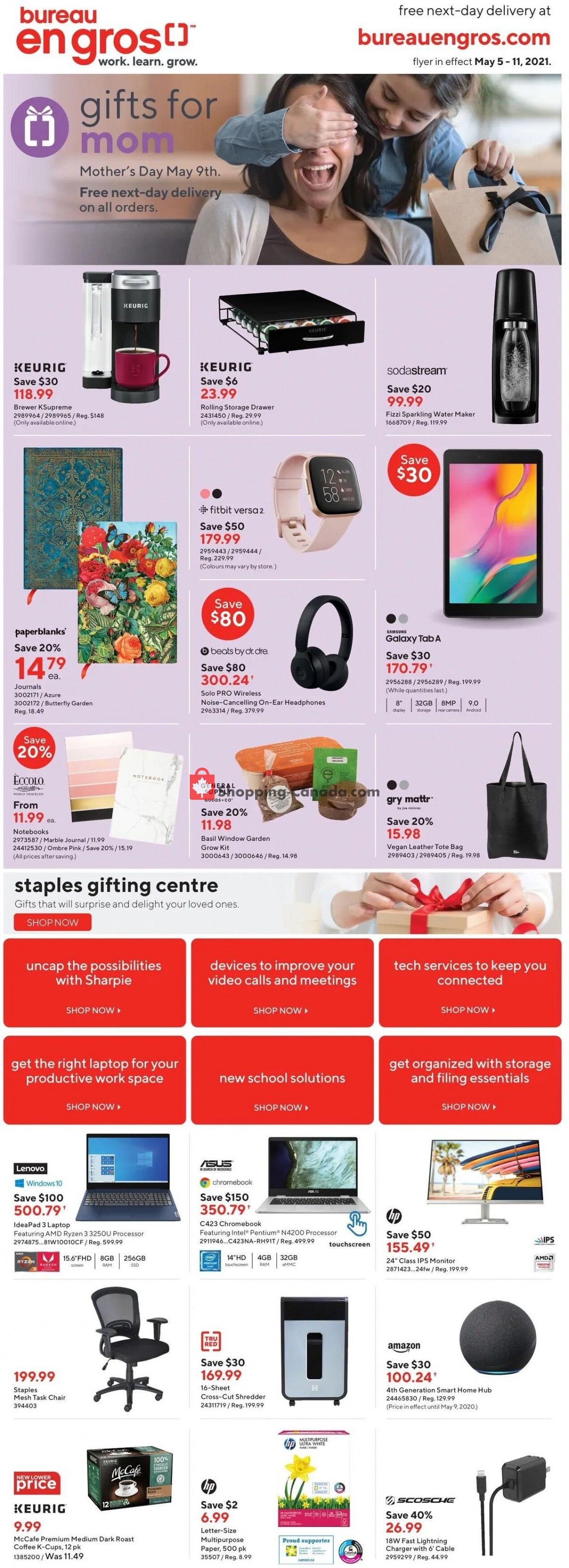 Flyer Staples Canada - from Wednesday May 5, 2021 to Tuesday May 11, 2021