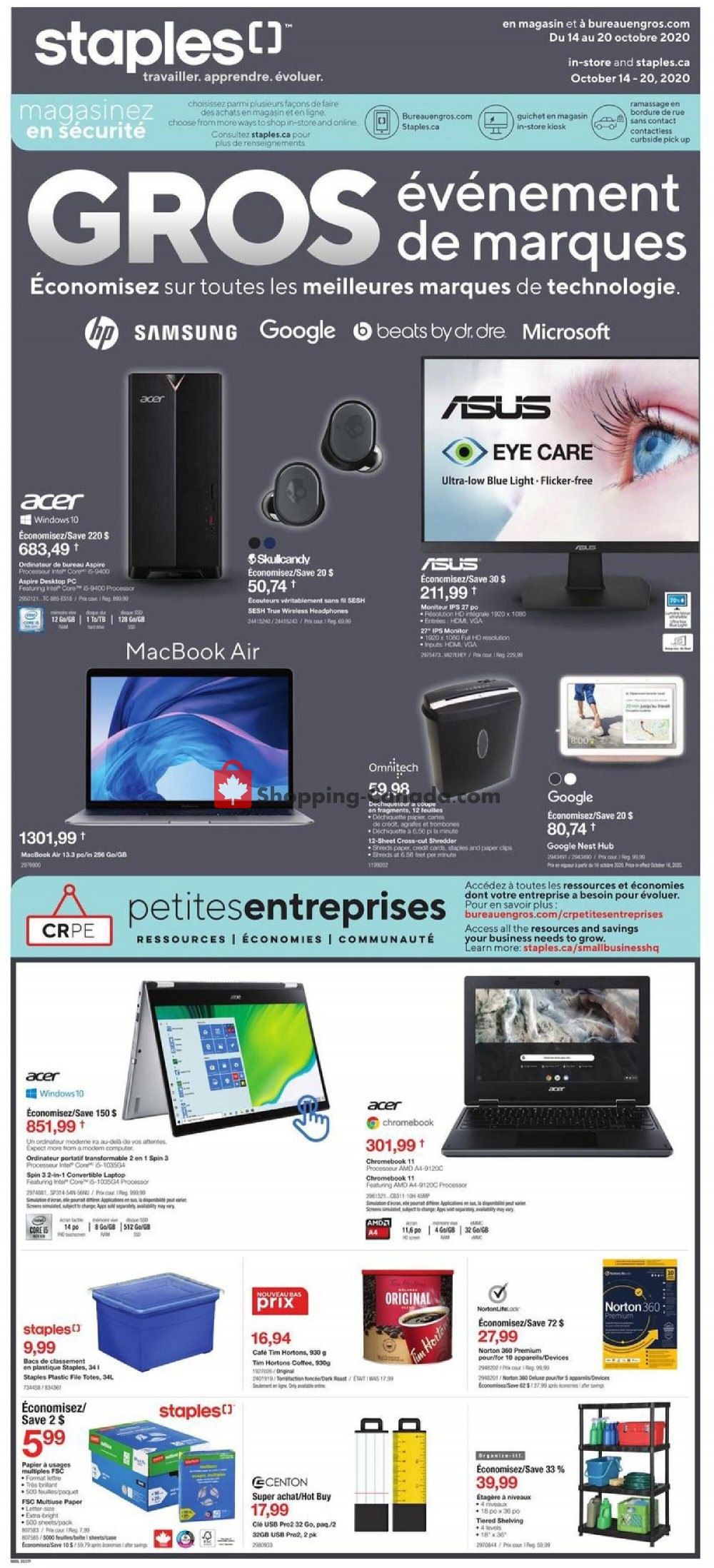 Flyer Staples Canada - from Wednesday October 14, 2020 to Tuesday October 20, 2020
