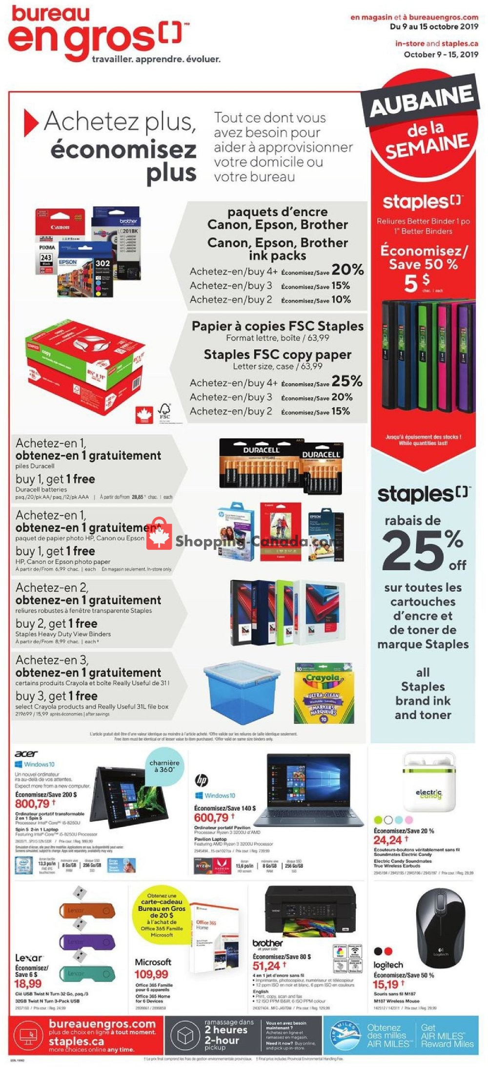 Flyer Staples Canada - from Wednesday October 9, 2019 to Tuesday October 15, 2019