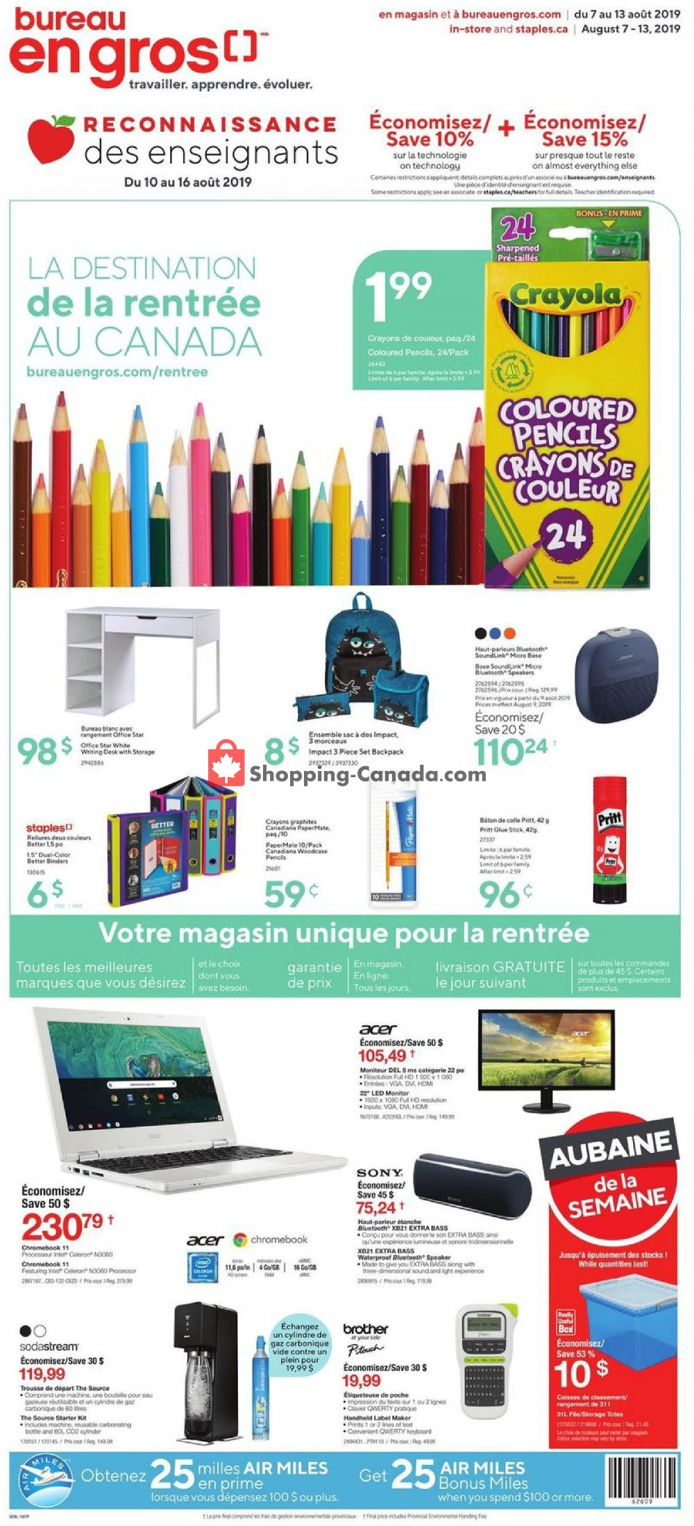 Flyer Staples Canada - from Wednesday August 7, 2019 to Tuesday August 13, 2019