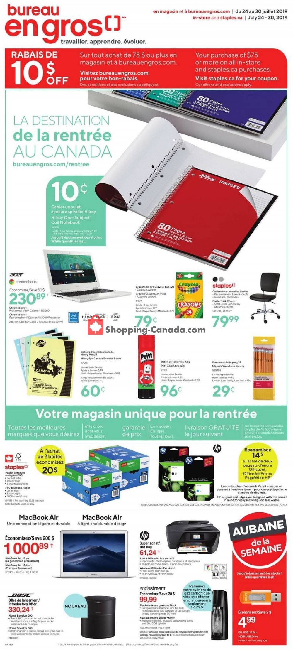 Flyer Staples Canada - from Wednesday July 24, 2019 to Tuesday July 30, 2019