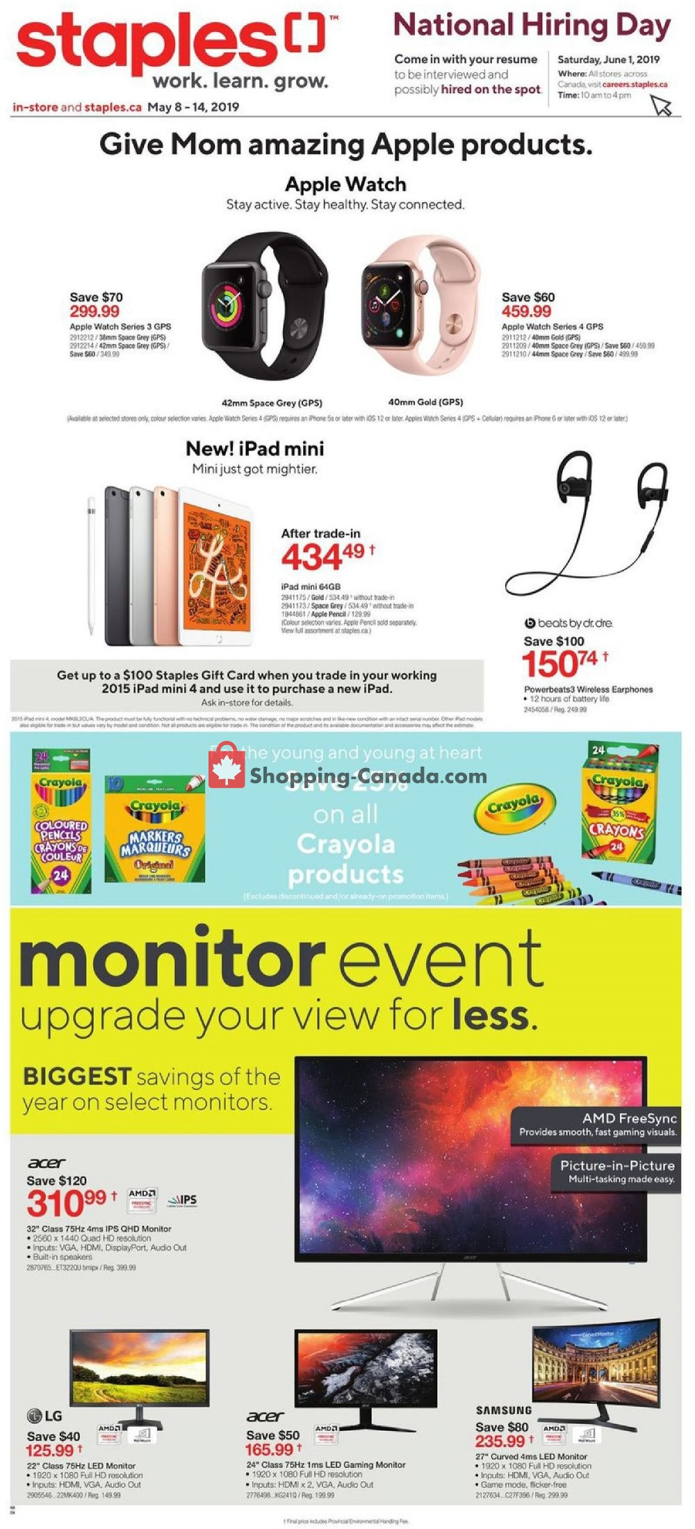 Flyer Staples Canada - from Wednesday May 8, 2019 to Tuesday May 14, 2019