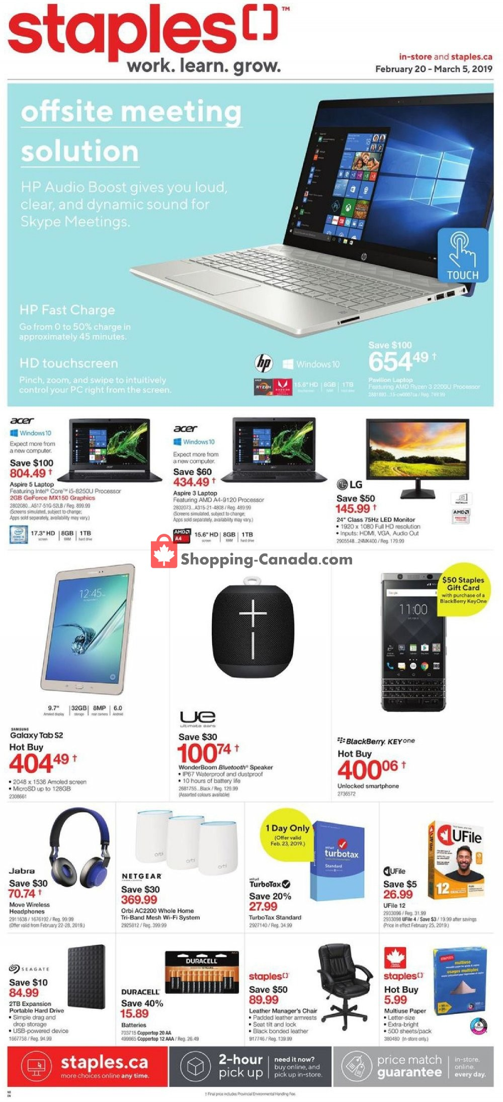 Flyer Staples Canada - from Wednesday February 20, 2019 to Tuesday March 5, 2019