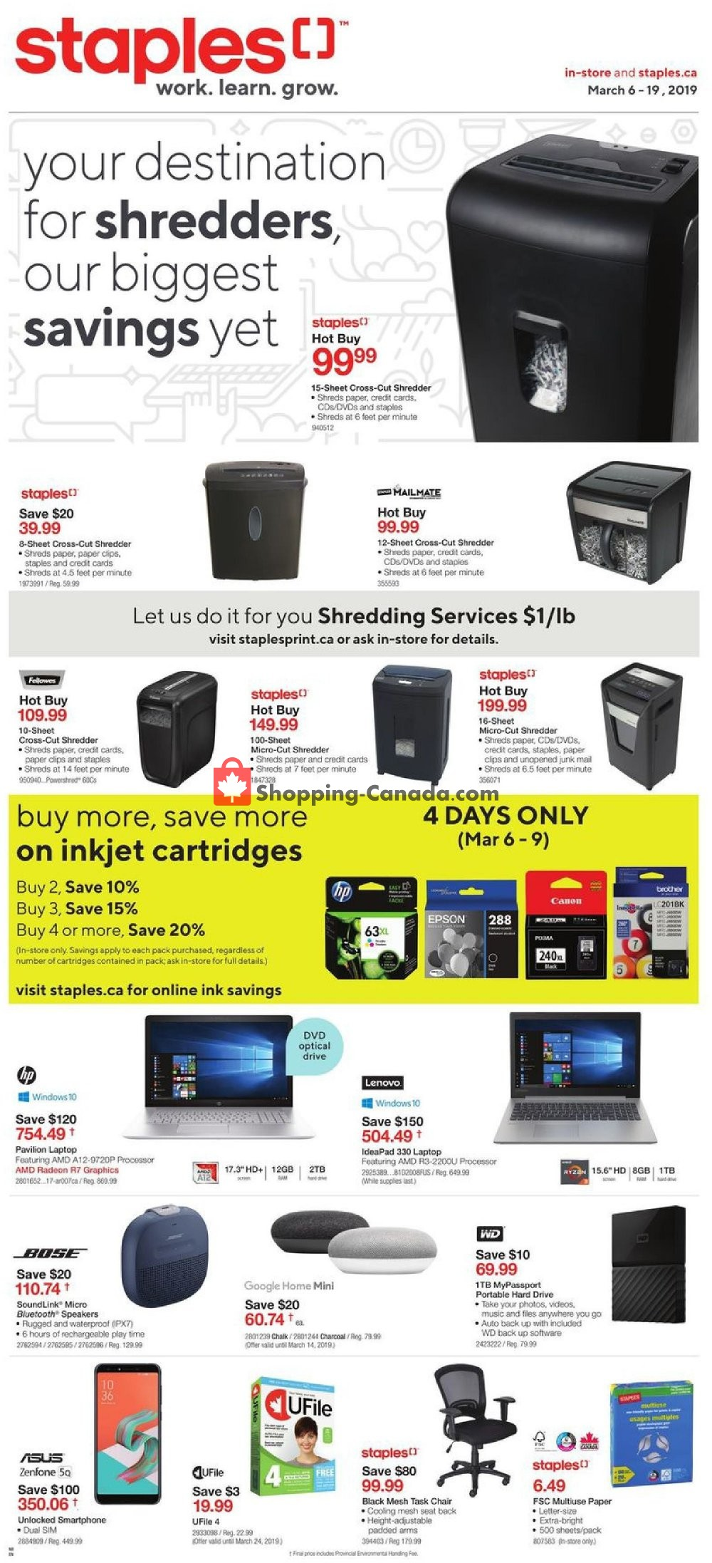 Flyer Staples Canada - from Wednesday March 6, 2019 to Tuesday March 19, 2019