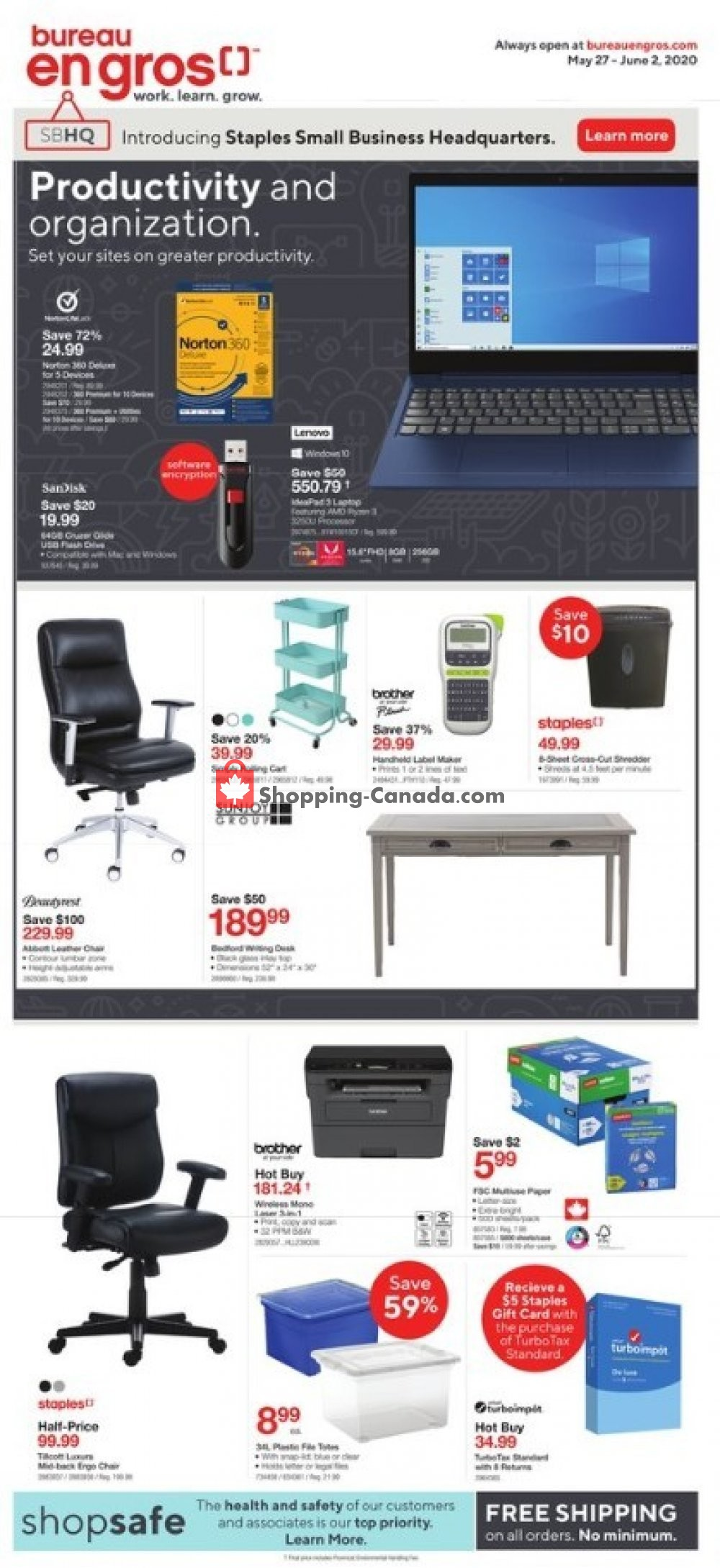 Flyer Staples Canada - from Wednesday May 27, 2020 to Tuesday June 2, 2020