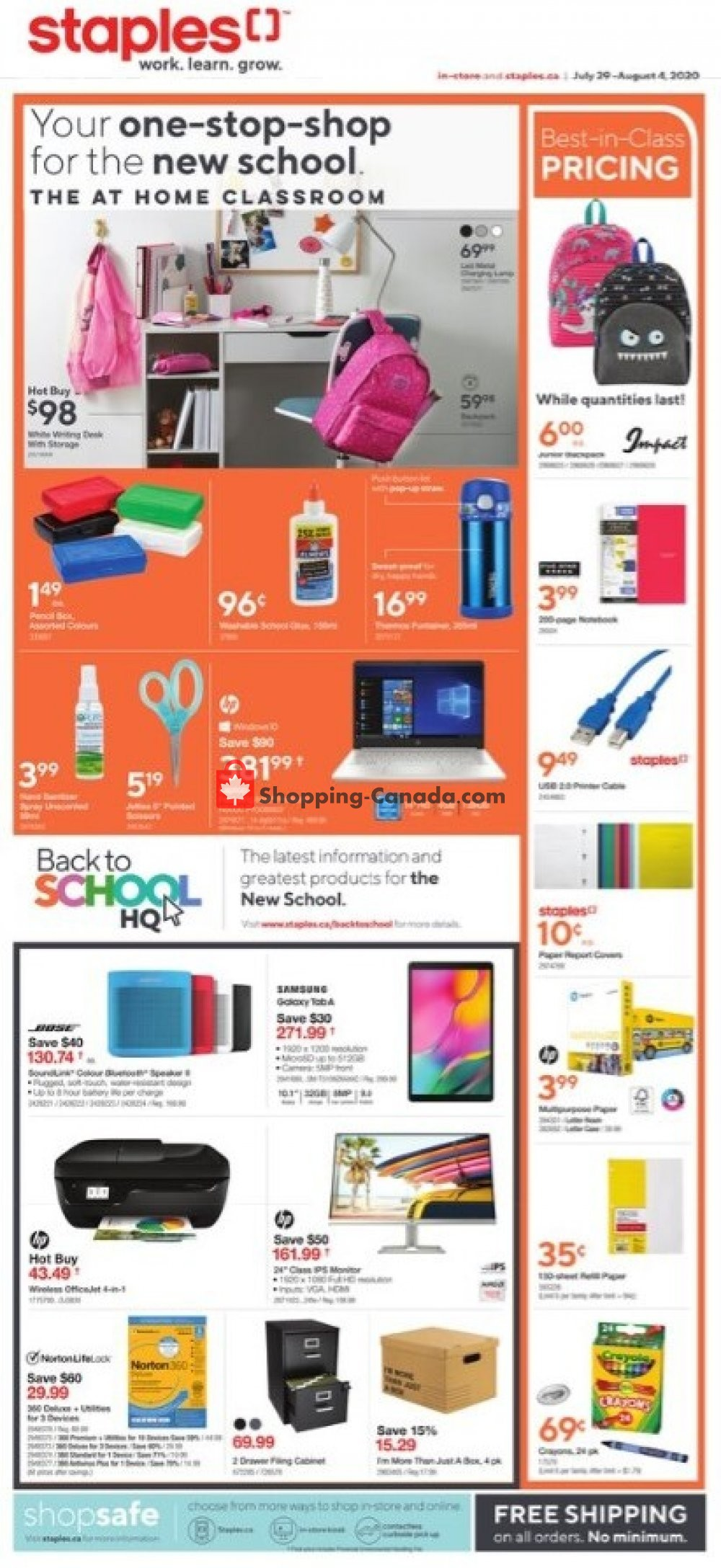 Flyer Staples Canada - from Wednesday July 29, 2020 to Tuesday August 4, 2020