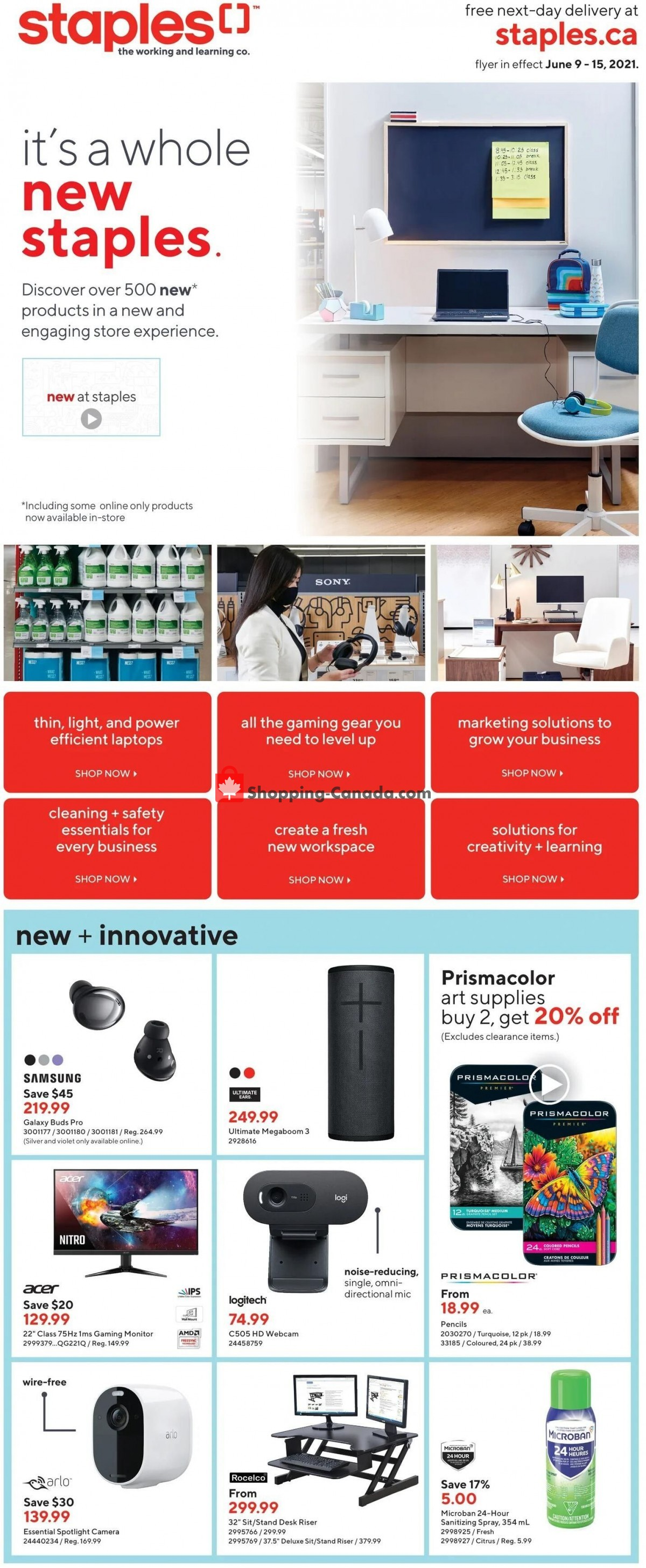Flyer Staples Canada - from Wednesday June 9, 2021 to Tuesday June 15, 2021