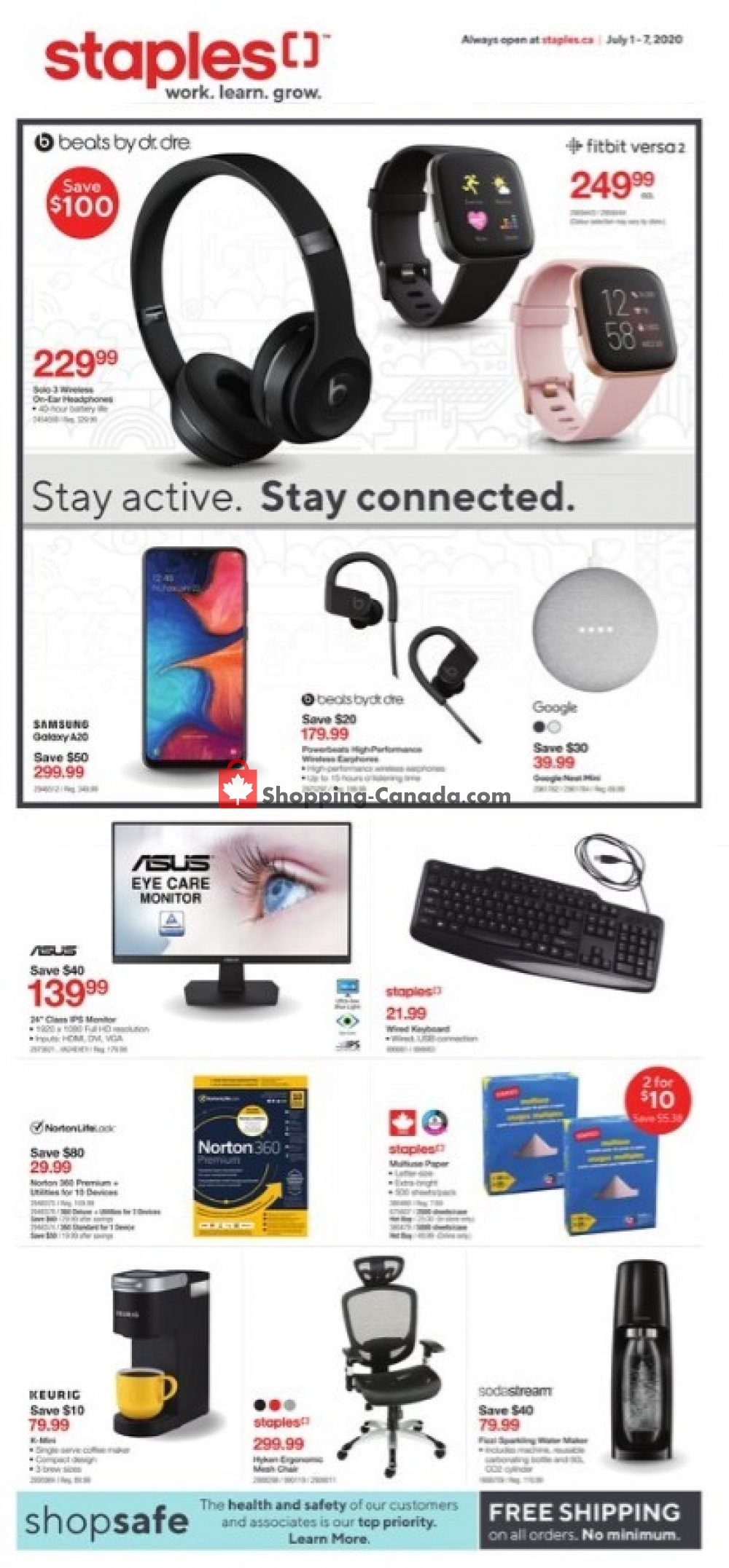 Flyer Staples Canada - from Wednesday July 1, 2020 to Tuesday July 7, 2020