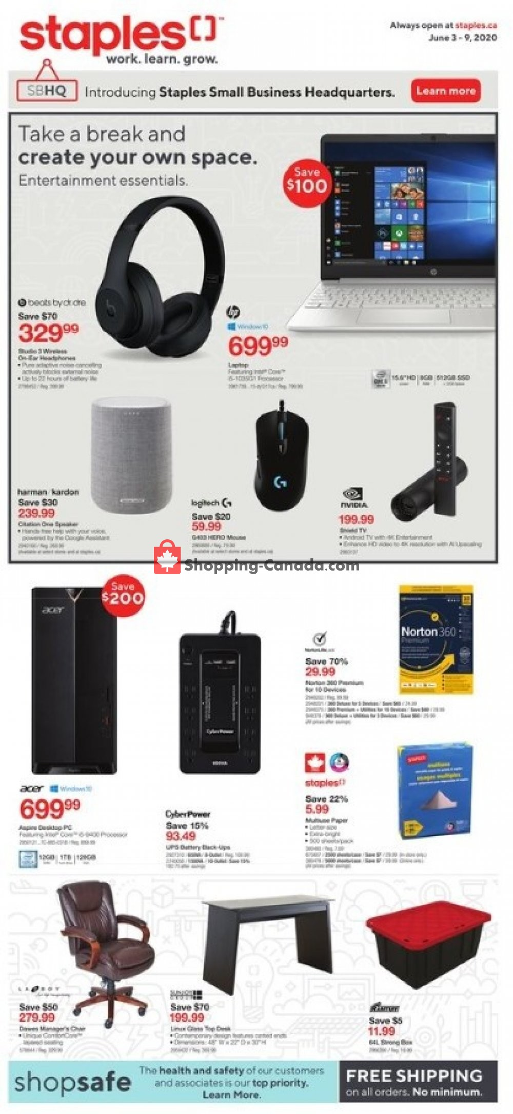 Flyer Staples Canada - from Wednesday June 3, 2020 to Tuesday June 9, 2020