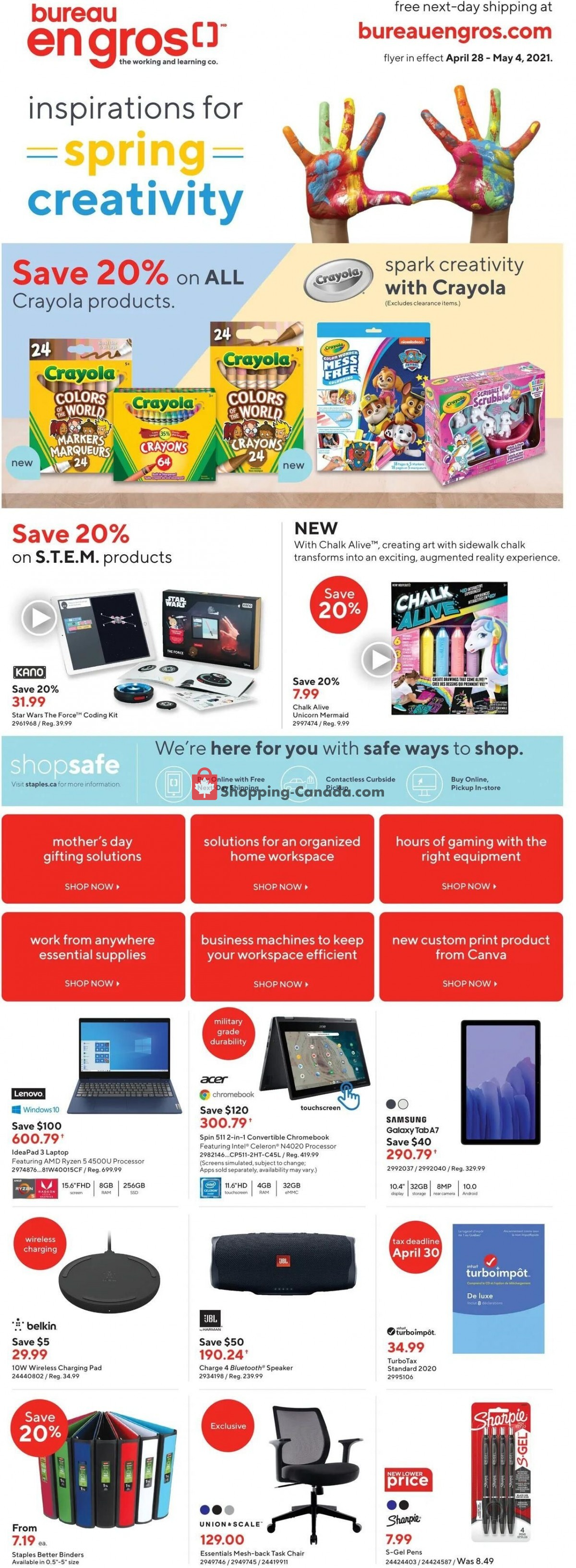 Flyer Staples Canada - from Wednesday April 28, 2021 to Tuesday May 4, 2021