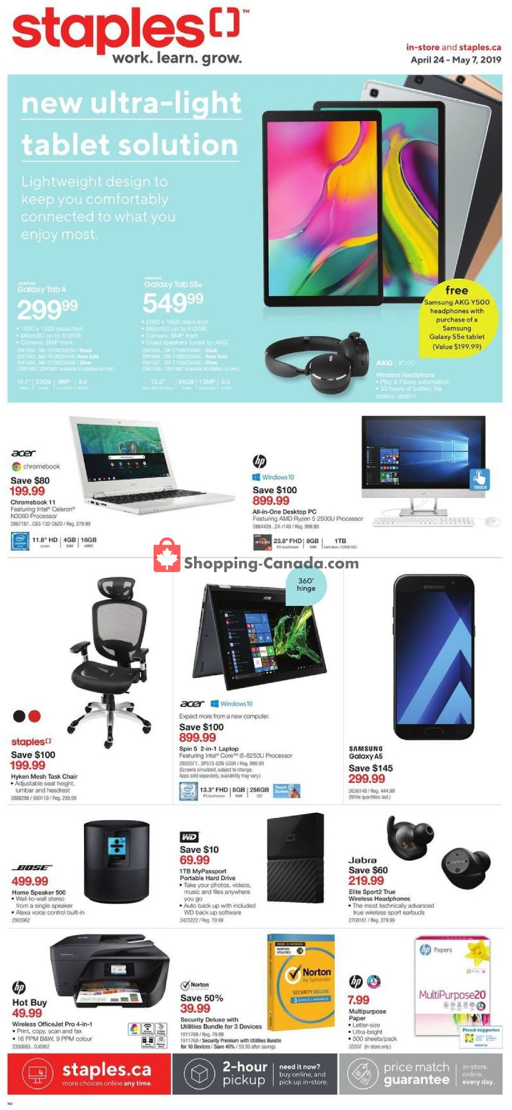 Flyer Staples Canada - from Wednesday April 24, 2019 to Tuesday May 7, 2019