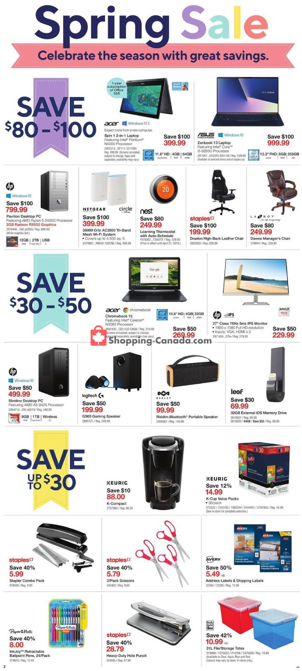 Flyer Staples Canada - from Wednesday April 17, 2019 to Tuesday April 23, 2019