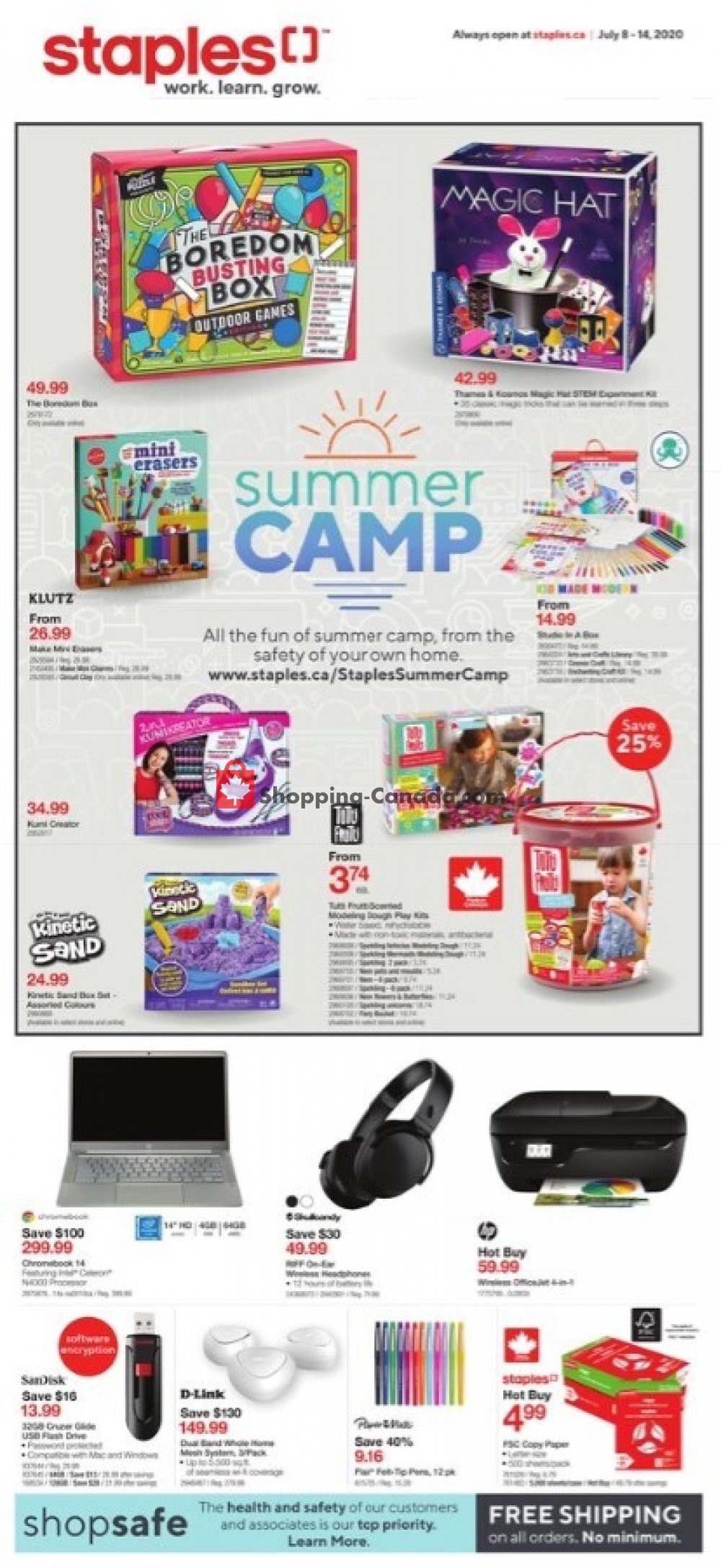 Flyer Staples Canada - from Wednesday July 8, 2020 to Tuesday July 14, 2020