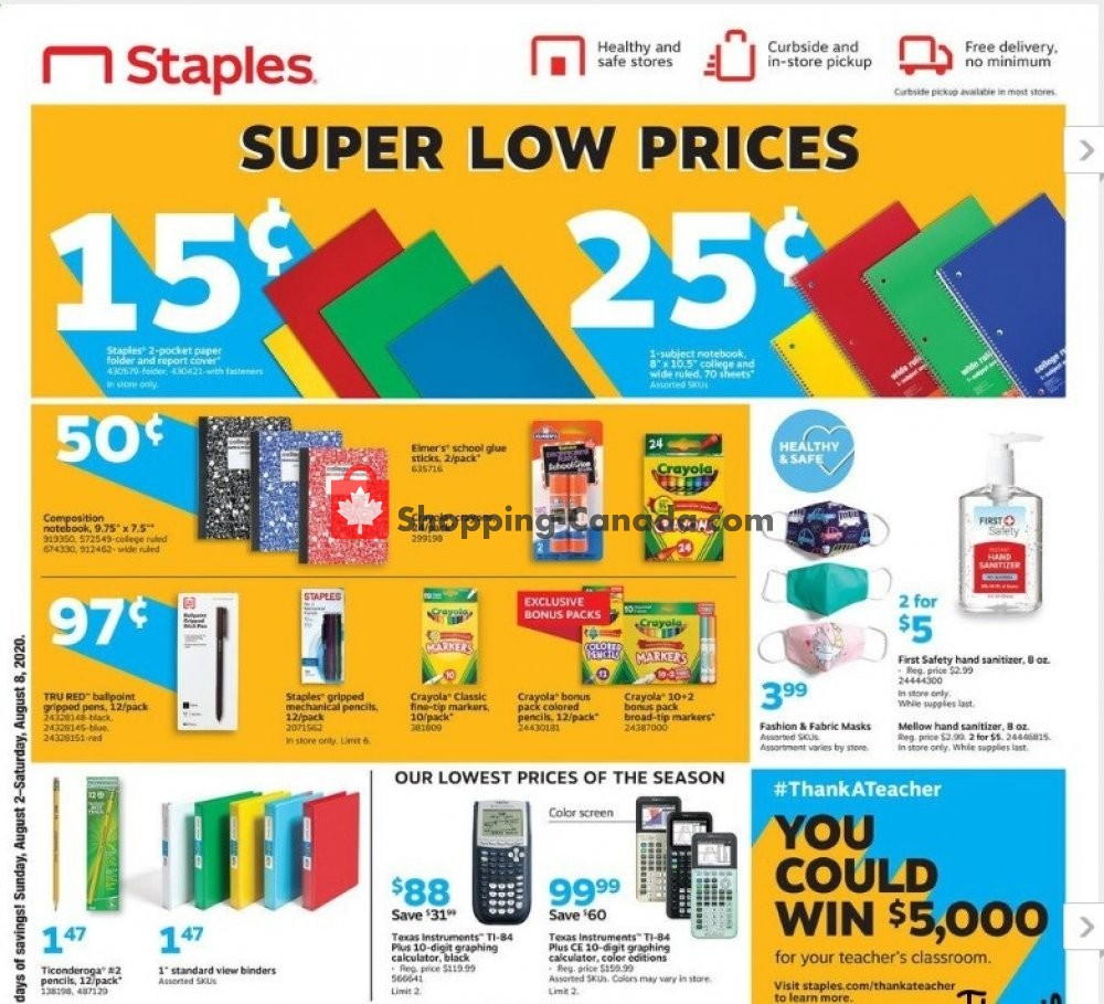 Flyer Staples Canada - from Sunday August 2, 2020 to Saturday August 8, 2020