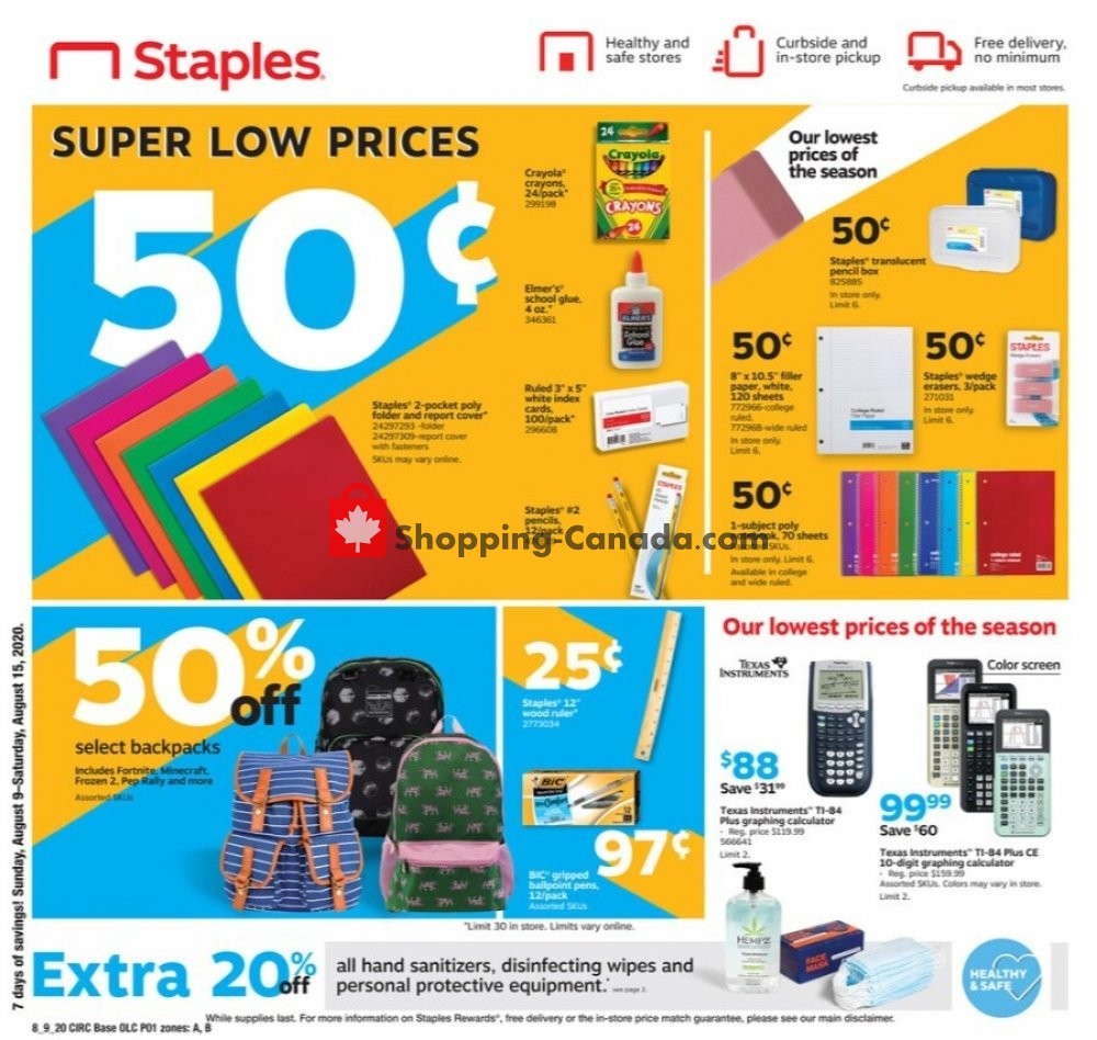 Flyer Staples Canada - from Sunday August 9, 2020 to Saturday August 15, 2020