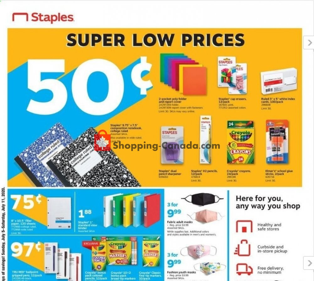 Flyer Staples Canada - from Sunday July 5, 2020 to Saturday July 11, 2020