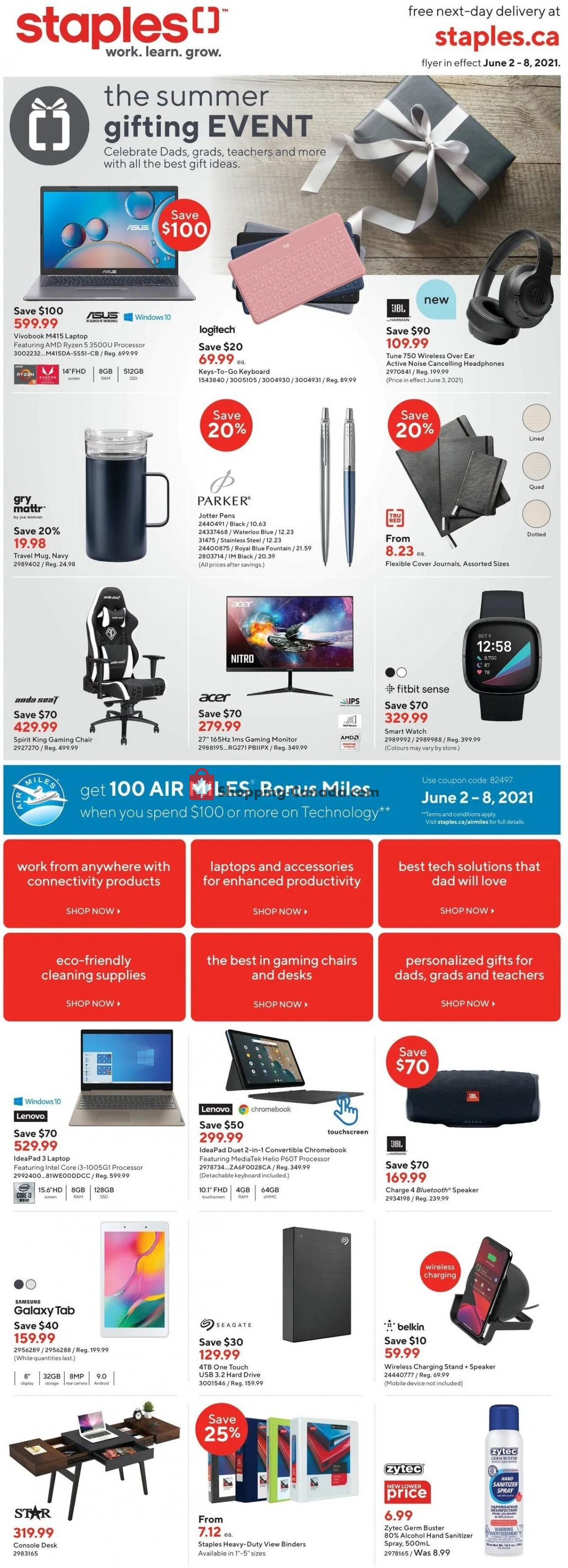 Flyer Staples Canada - from Wednesday June 2, 2021 to Tuesday June 8, 2021