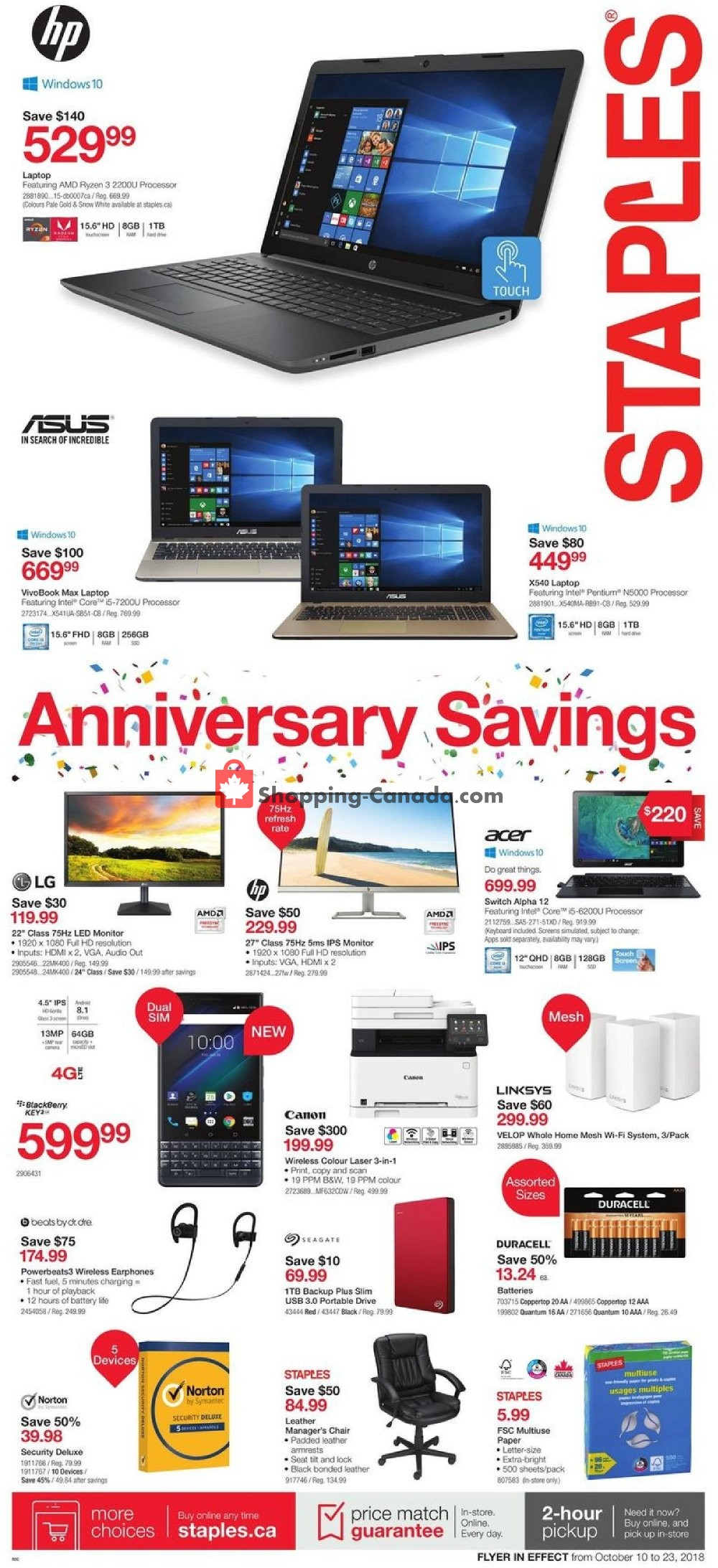 Flyer Staples Canada - from Wednesday October 10, 2018 to Tuesday October 23, 2018