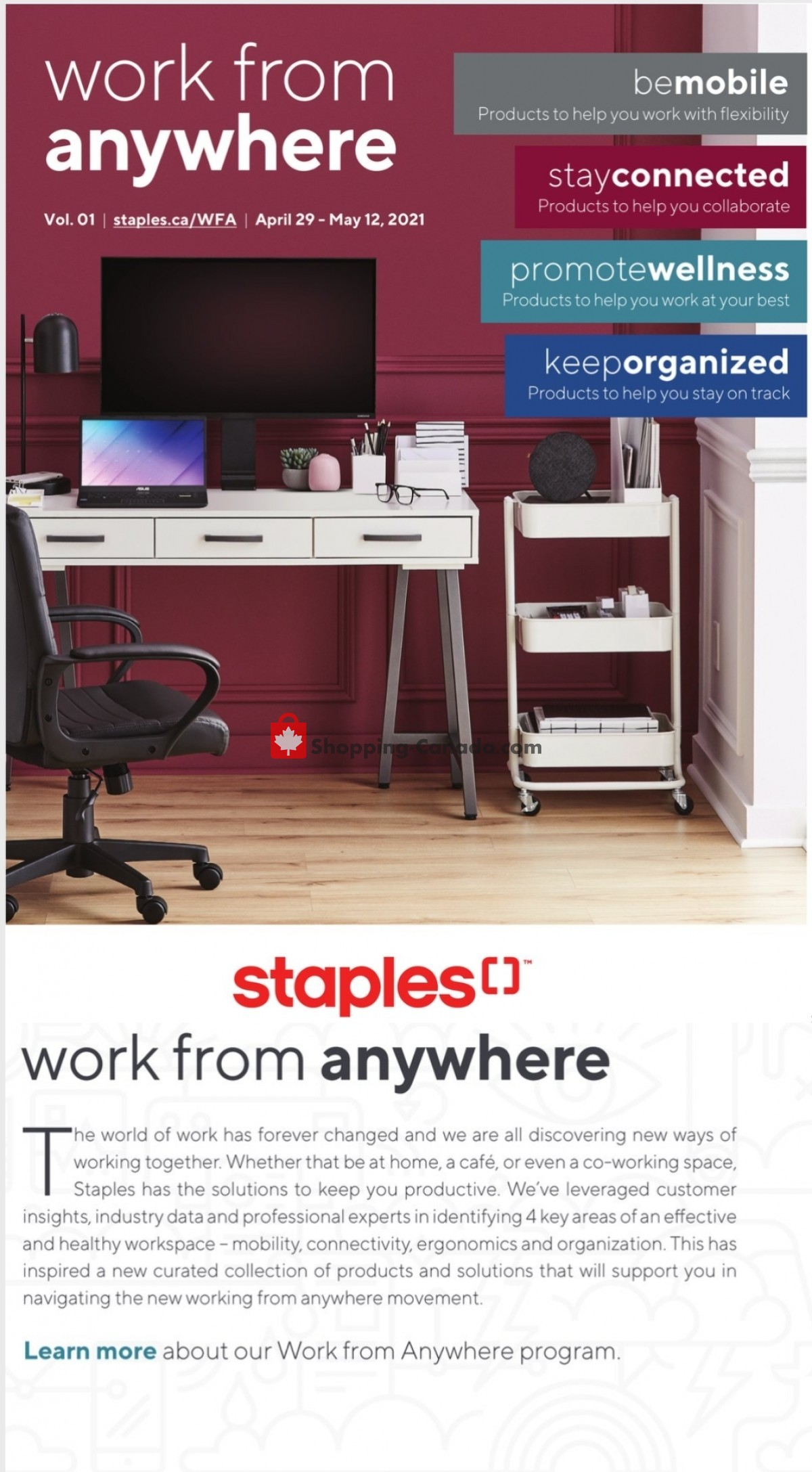 Flyer Staples Canada - from Thursday April 29, 2021 to Wednesday May 12, 2021