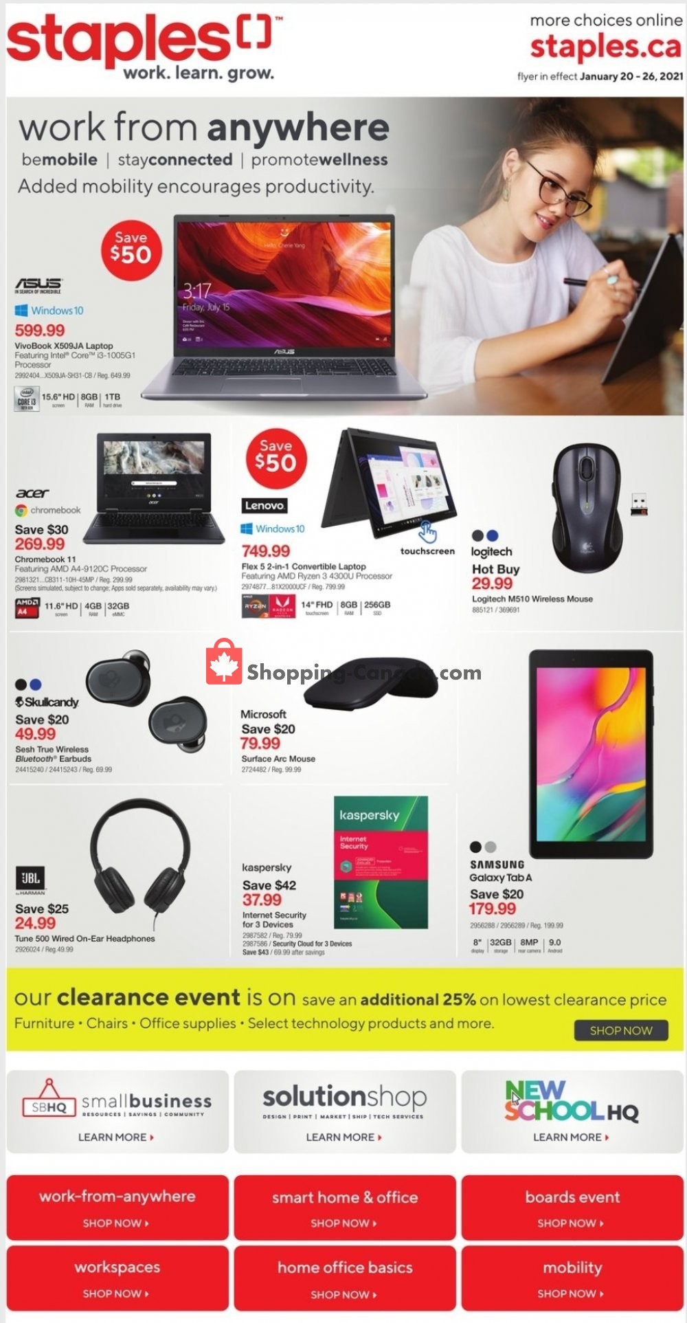 Flyer Staples Canada - from Wednesday January 20, 2021 to Tuesday January 26, 2021