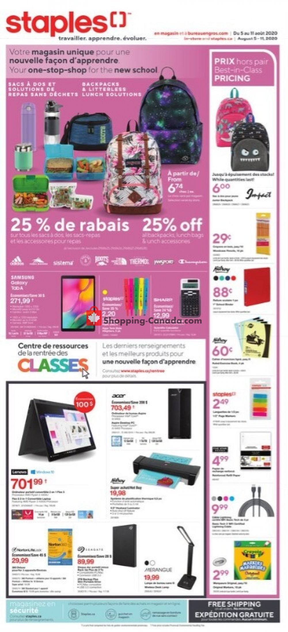 Flyer Staples Canada - from Wednesday August 5, 2020 to Tuesday August 11, 2020