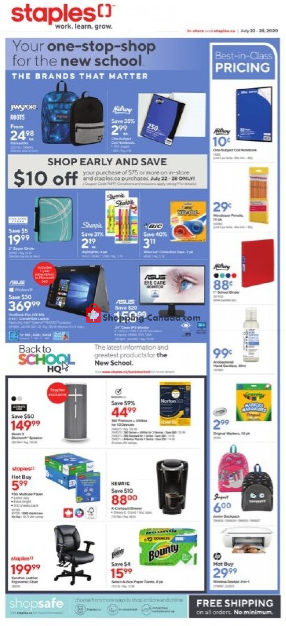 Flyer Staples Canada - from Wednesday July 22, 2020 to Tuesday July 28, 2020