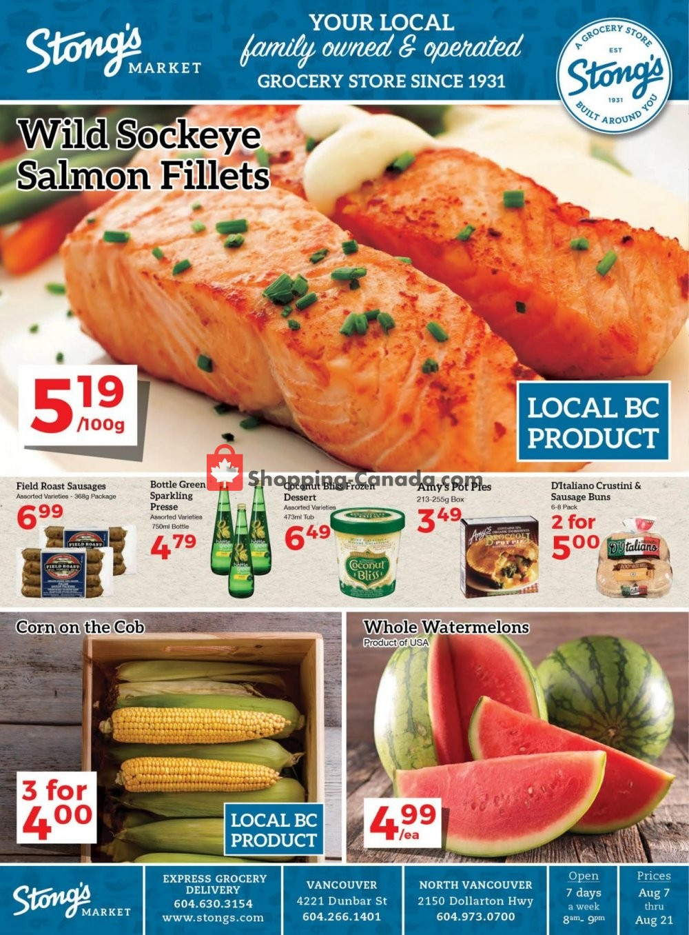 Flyer Stong's Market Canada - from Friday August 7, 2020 to Friday August 21, 2020