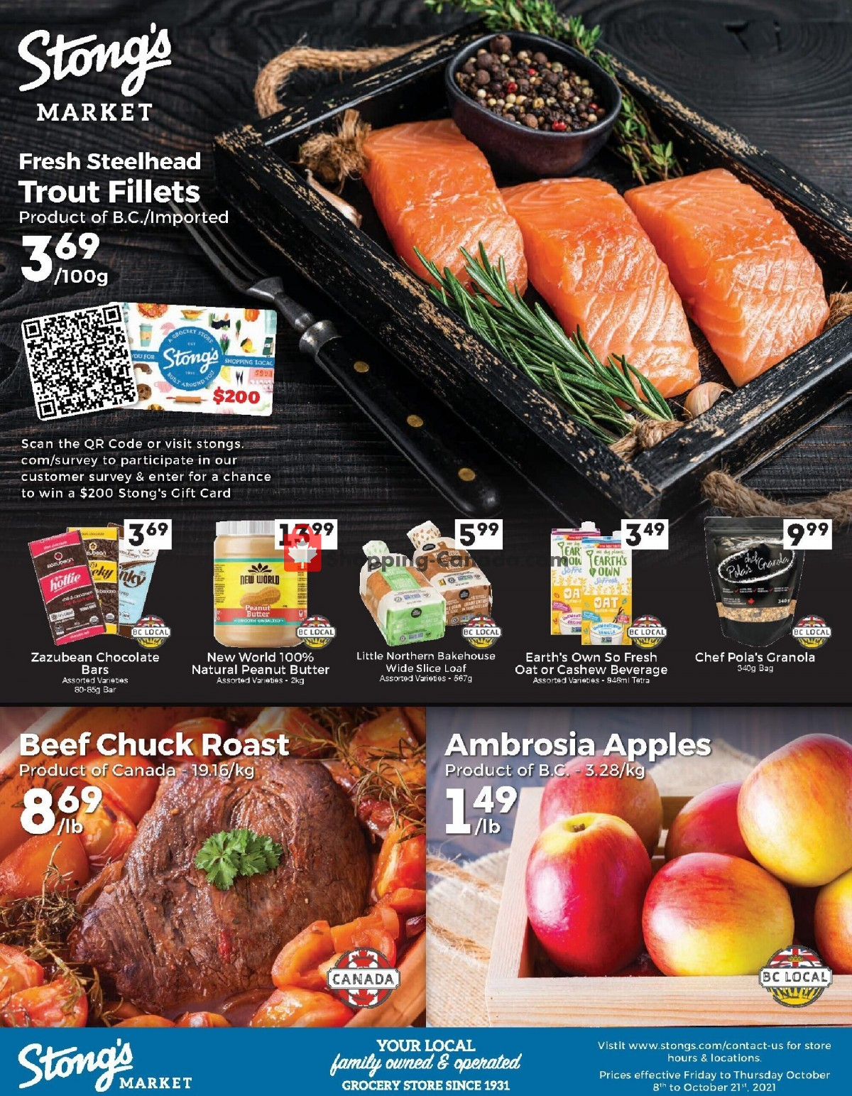 Flyer Stong's Market Canada - from Friday October 8, 2021 to Thursday October 21, 2021